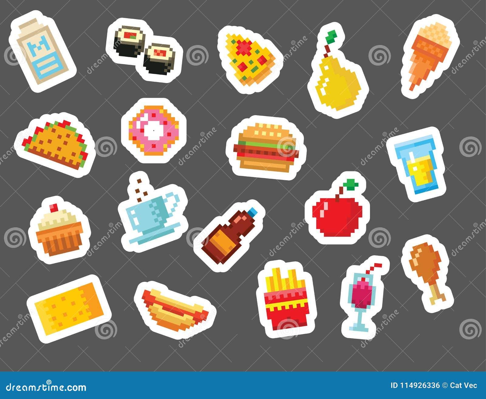 Pixel Art Food Computer Design Icons Vector Illustration Restaurant Pixelated Element Fast Food Retro Game Web Graphic Stock Vector Illustration Of Healthy Bottle 114926336