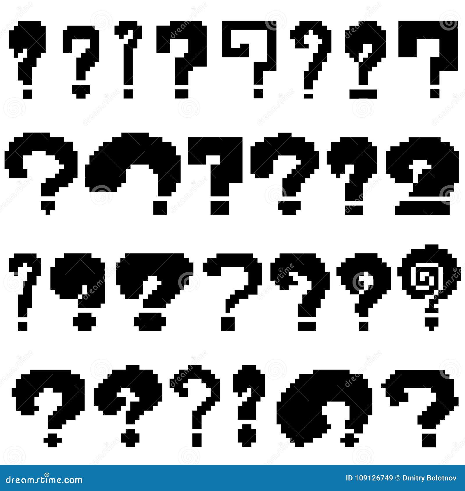 Set Of Pixel Questions Of Black Color Stock Vector