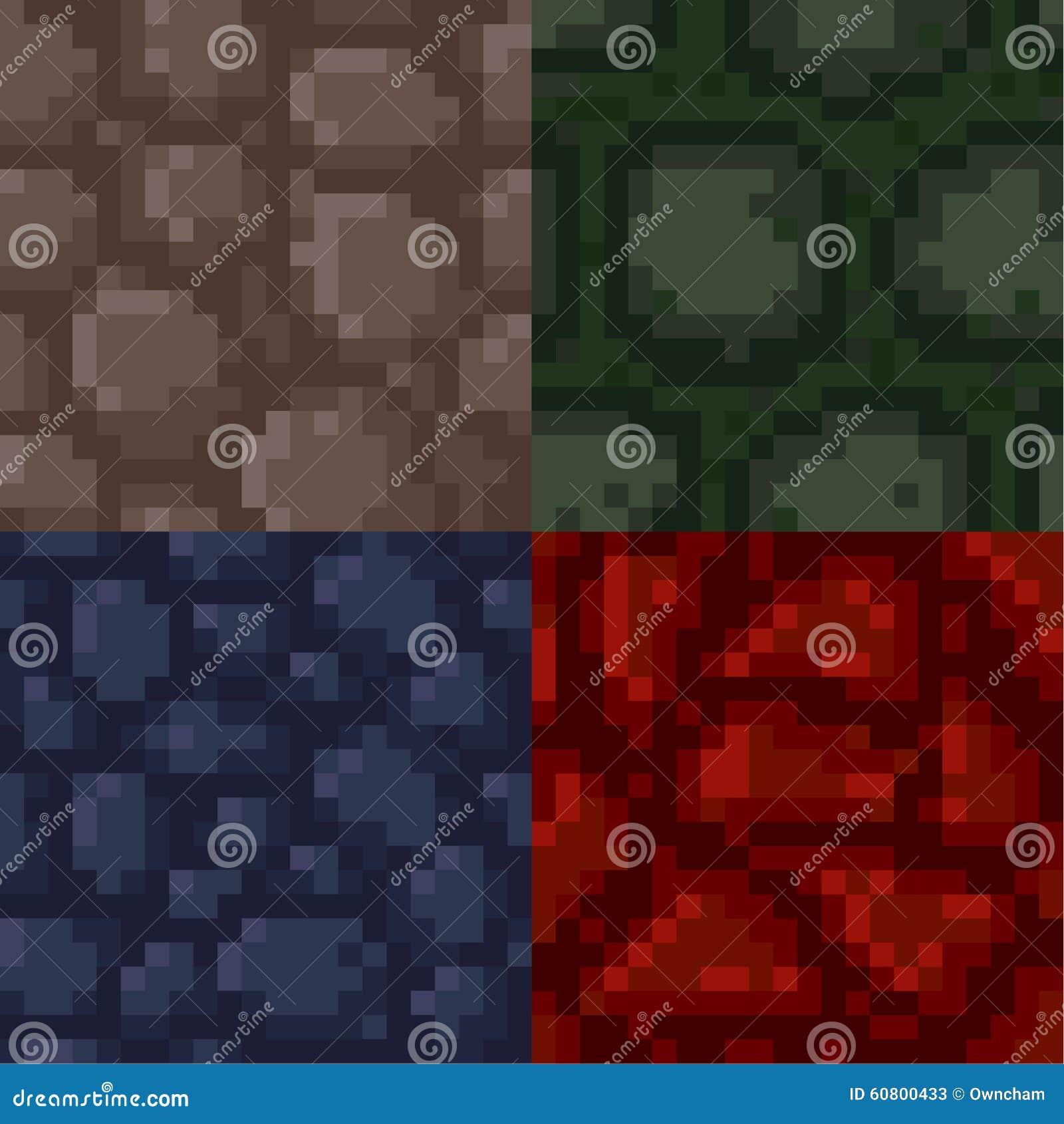 Set Of Pixel Stone Textures Stock Vector