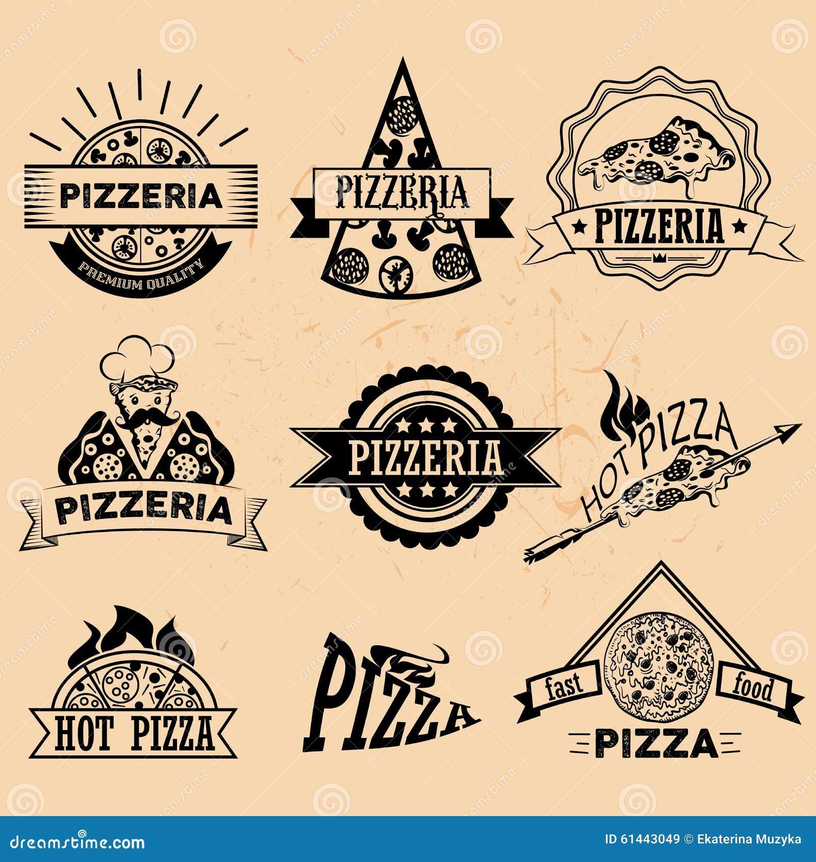 Set pizz etykietki w rocznika stylu ikony