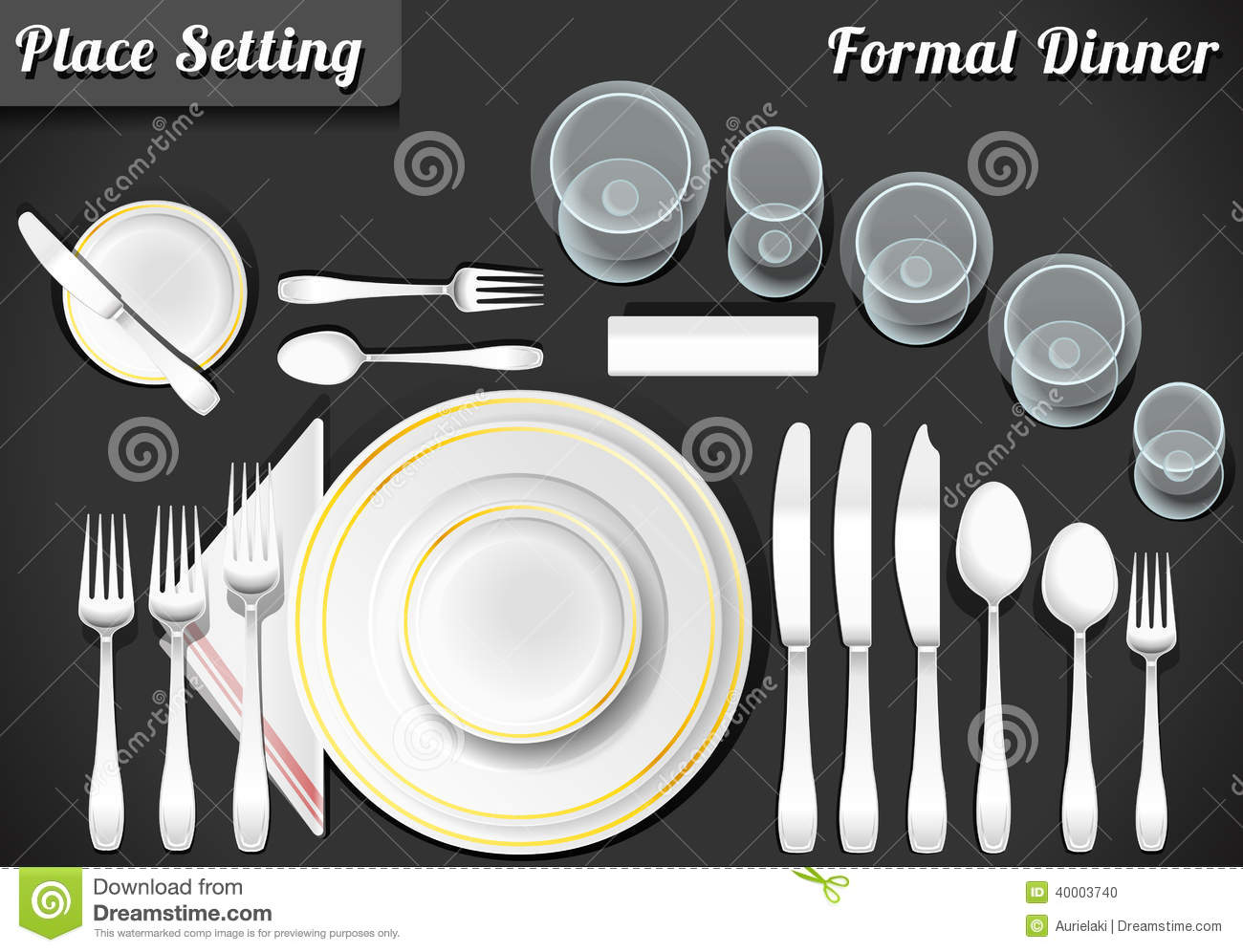 Set Of Place Setting Formal Dinner Stock Vector Image