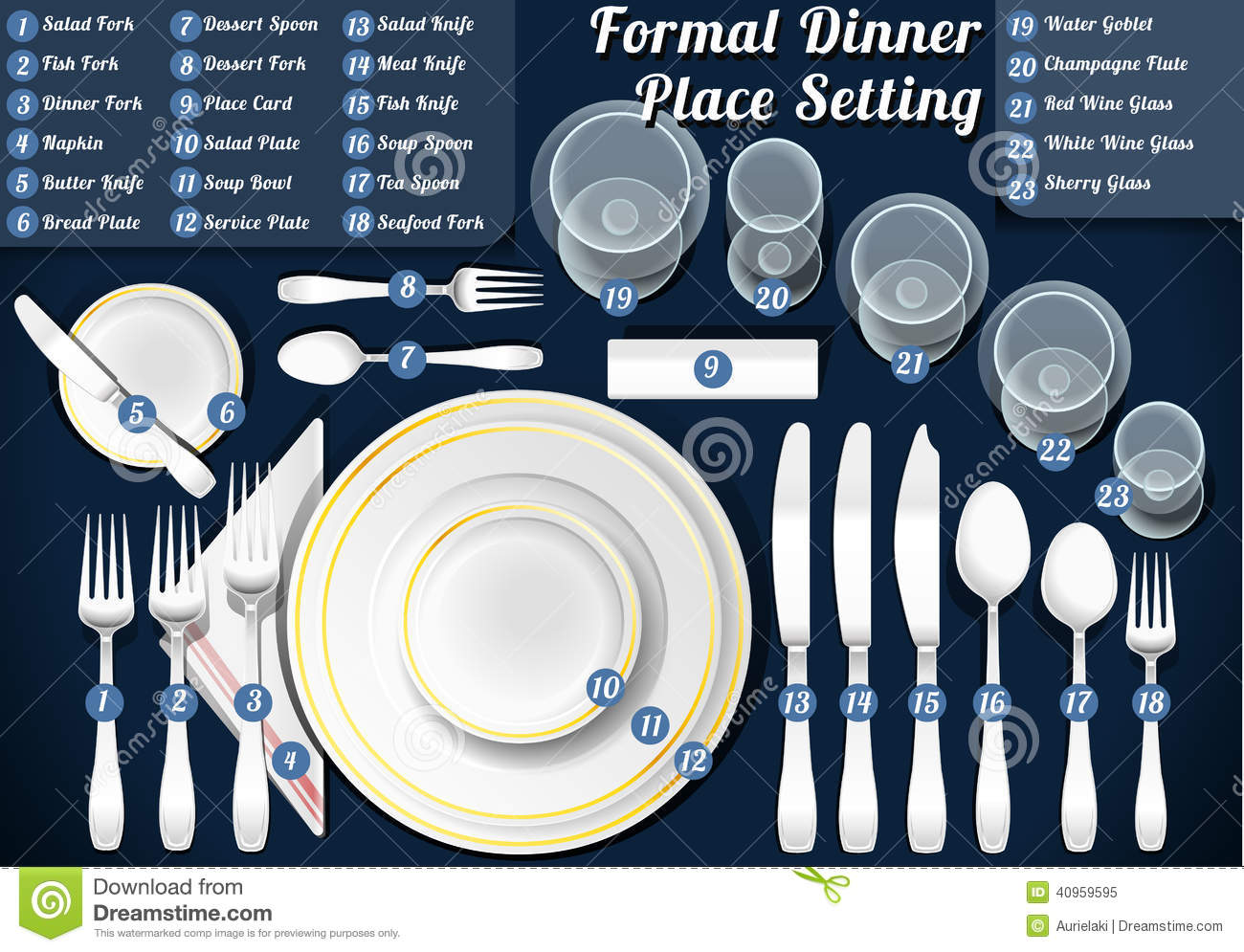 Set Of Place Setting Formal Dinner Stock Vector Image  : set place setting formal dinner detailed illustration illustration saved eps color space rgb 40959595 from www.dreamstime.com size 1300 x 995 jpeg 188kB