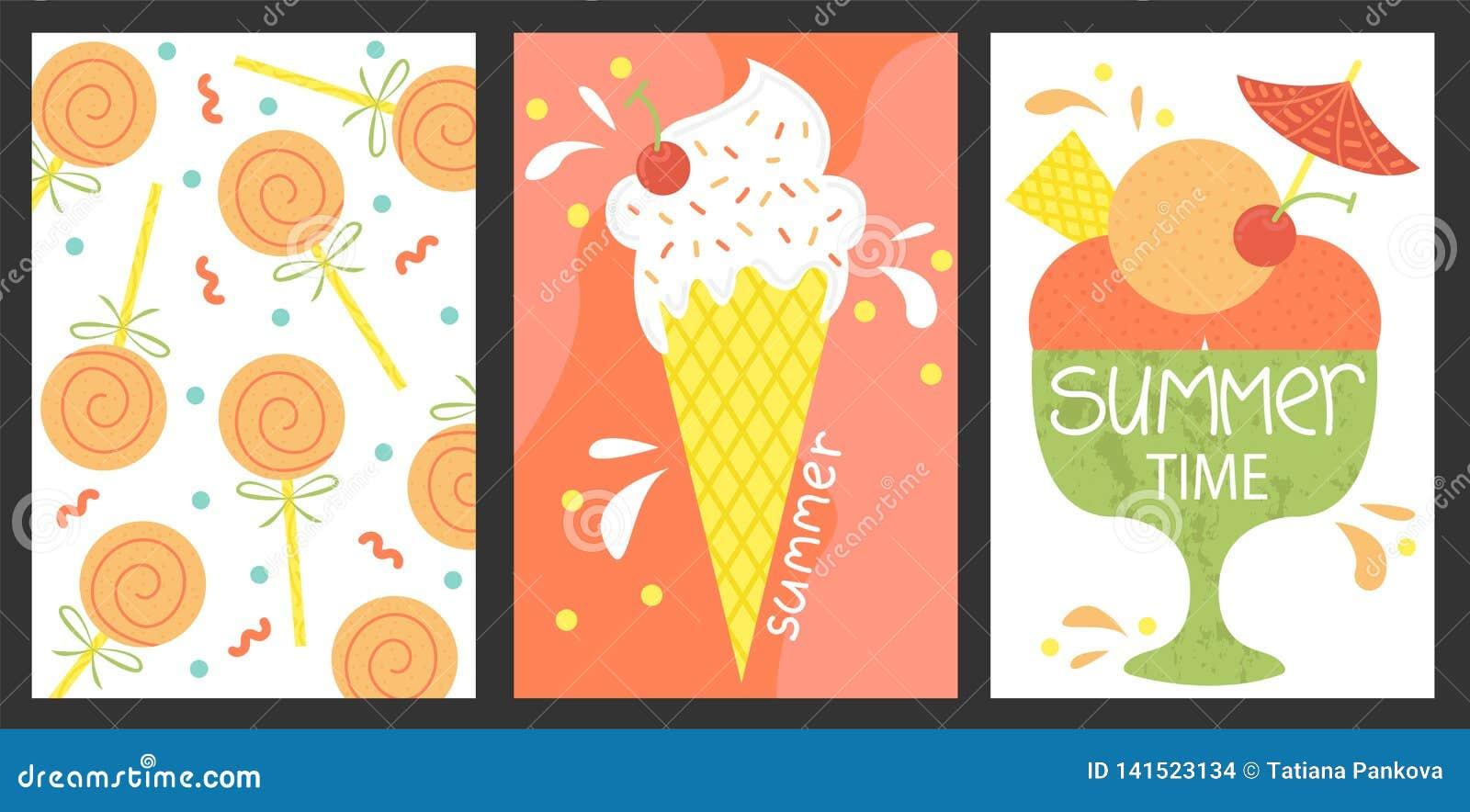 Set 3 plakata lato Wektorowy projekta pojęcie dla lata Lody, lato cukierki