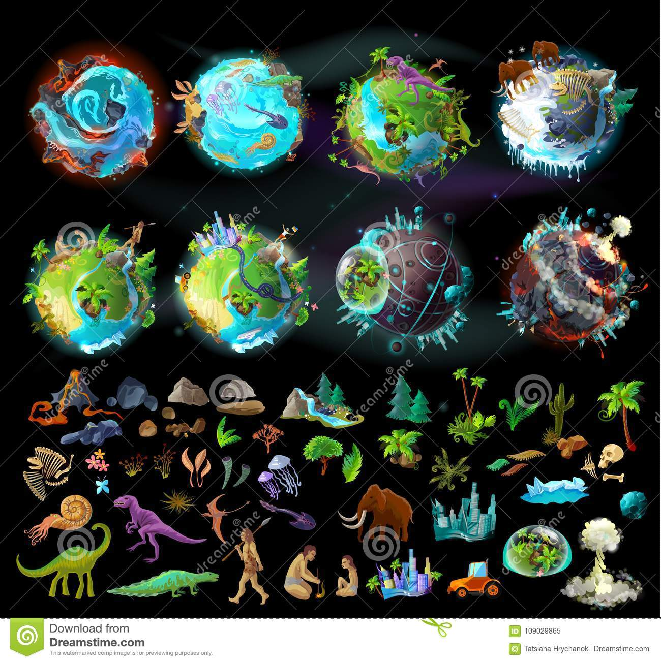 Set Of Planets And Elements For Game Design