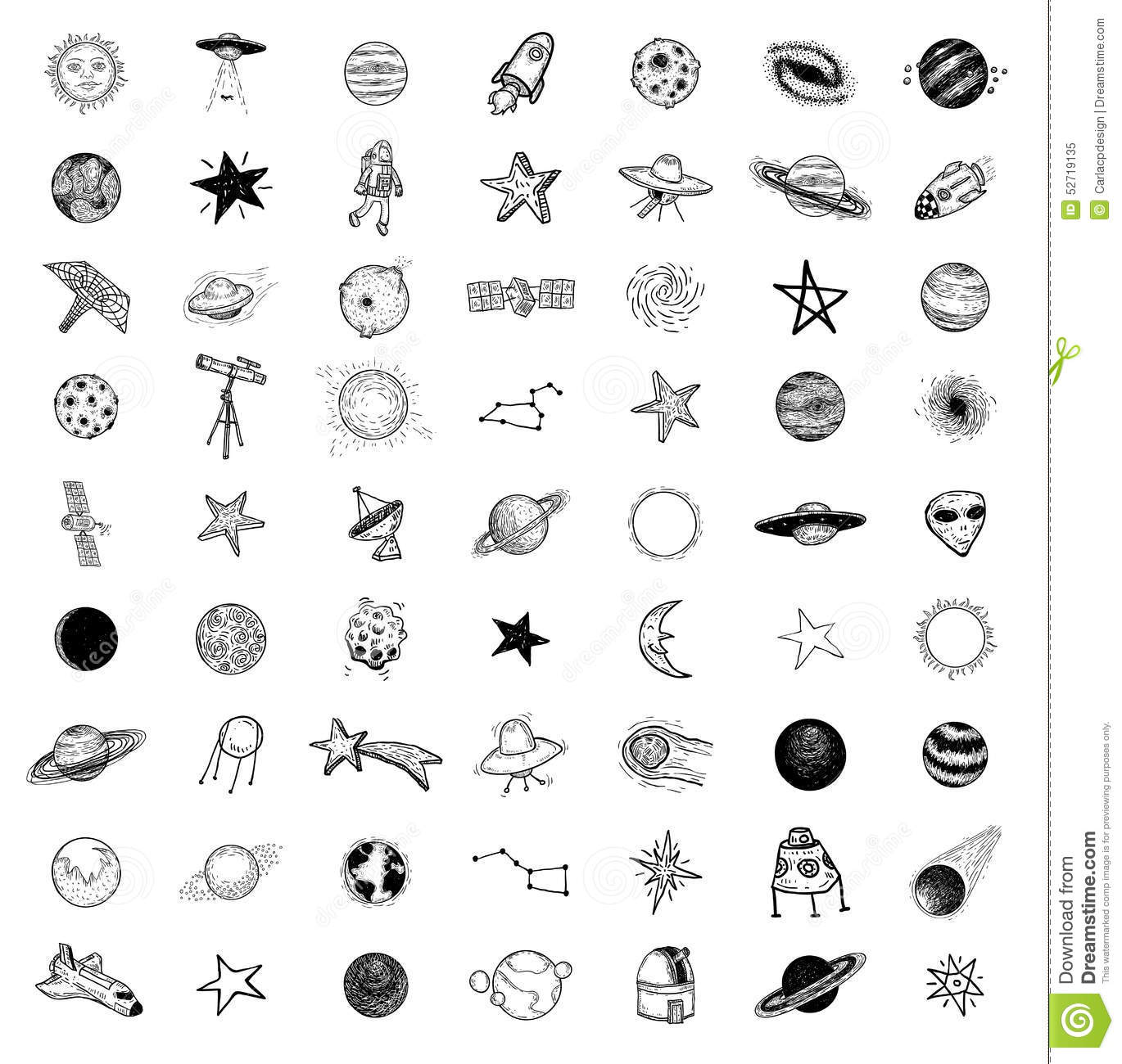 Set Of Planets Icon Hand Drawn Vector Illustration Stock