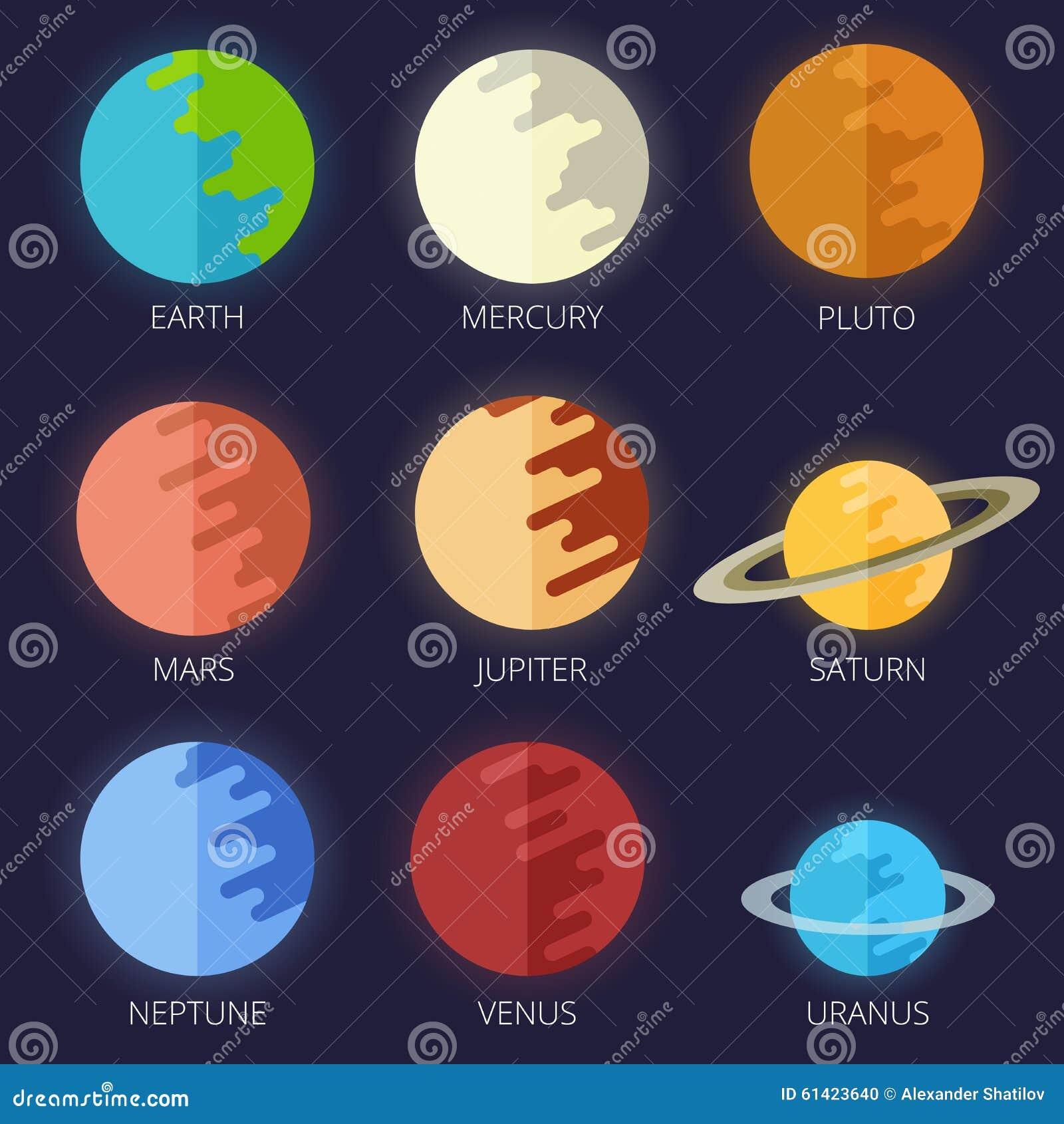 Set planets solar system cartoon style flat icon stock vector image - Set Planets Solar System In A Cartoon Style Flat Stock