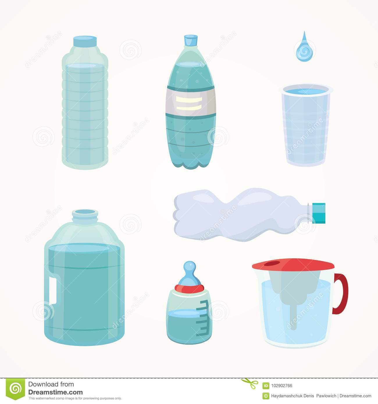 Set Plastic bottle of pure water, different bottle design vector illustration in cartoon style.