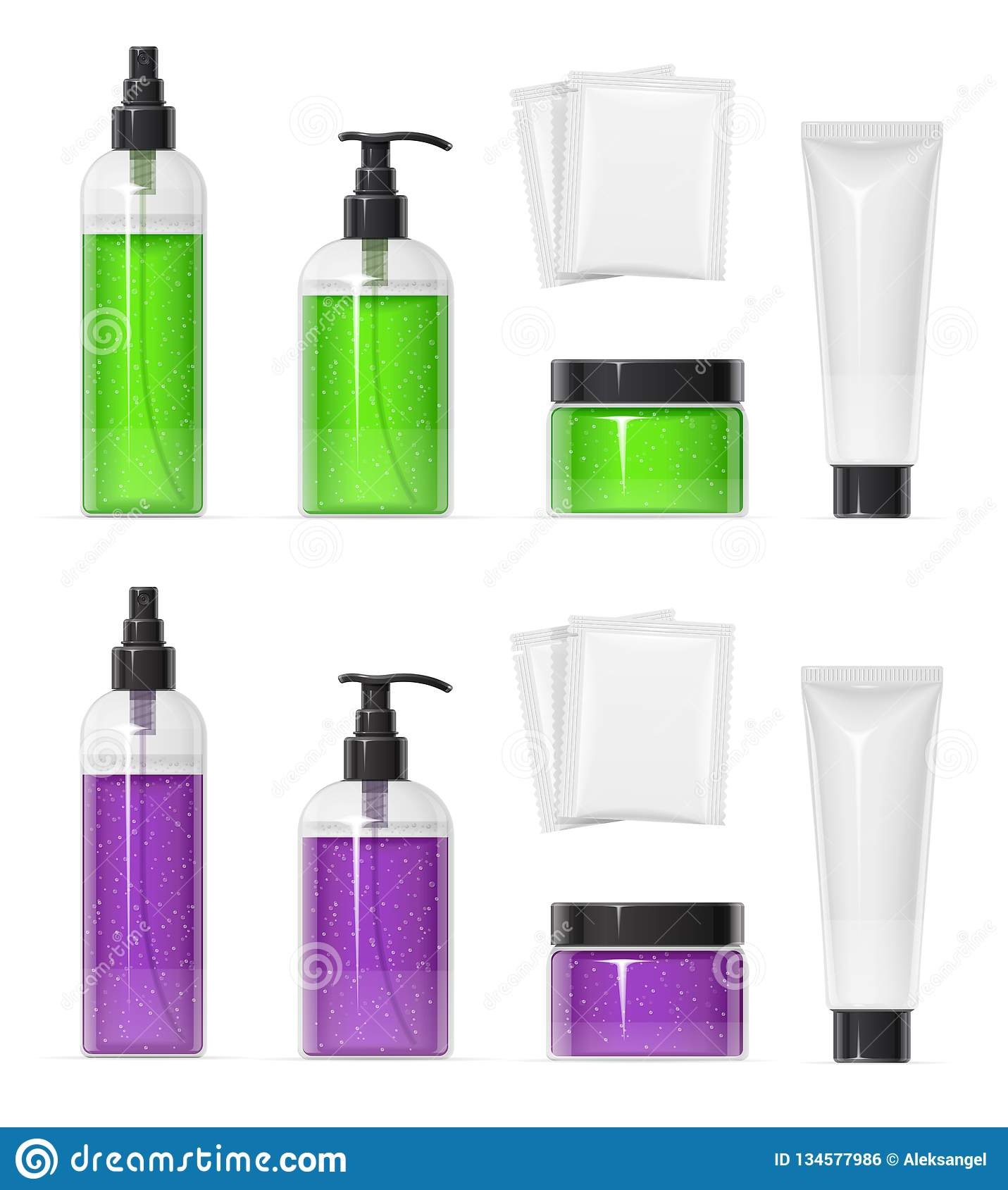 Set Of Plastic Container For Cream Spray, Gel And Shampoo