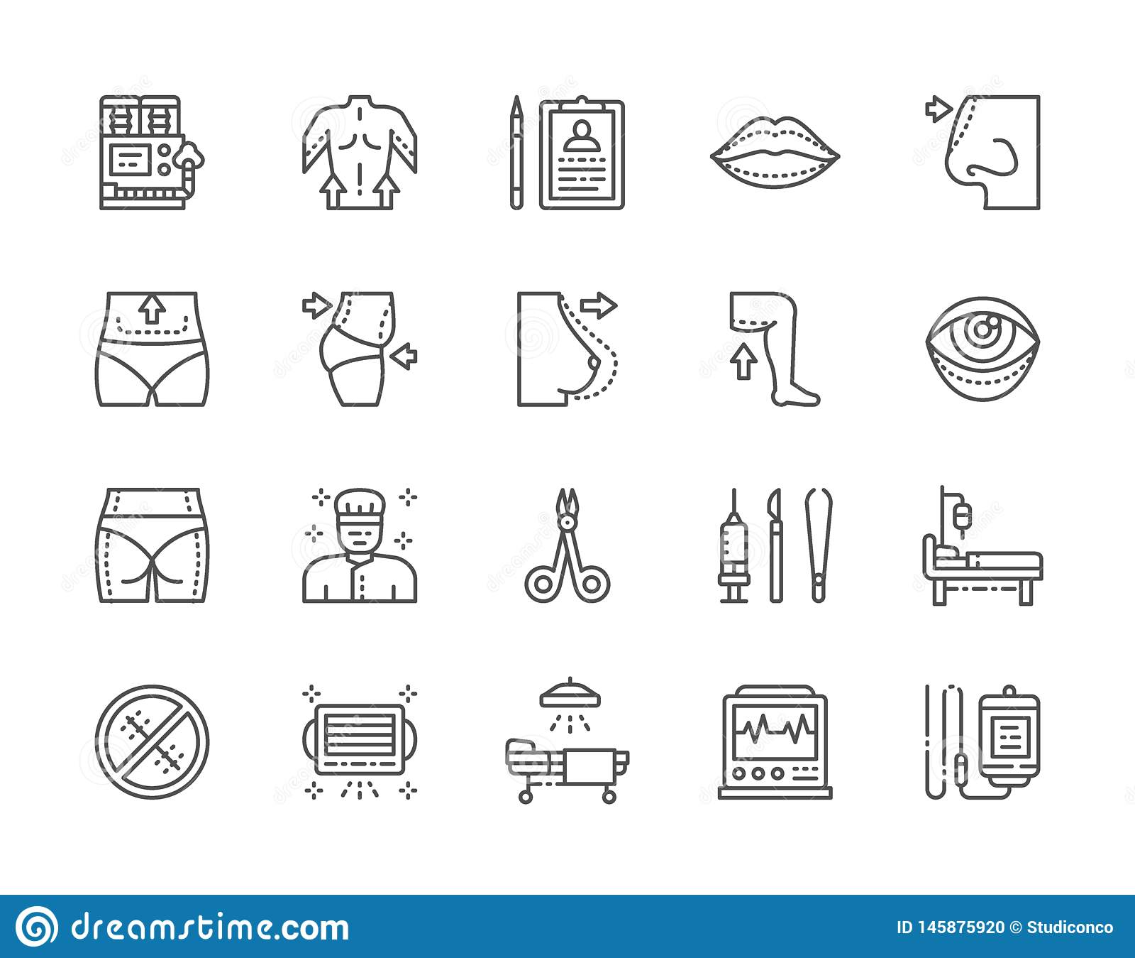 Set of Plastic Surgery Line Icons. Surgeon, Liposuction, Rhinoplasty and more.