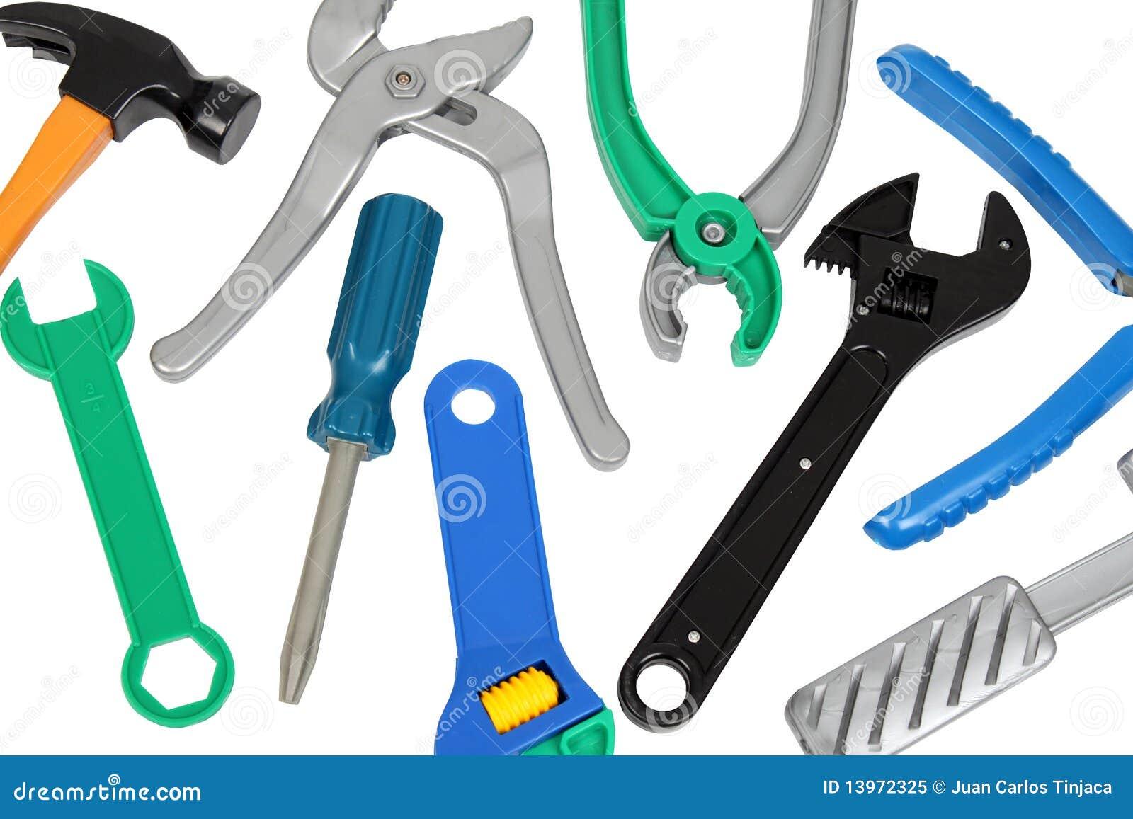 Plastic Toy Tools : Set of plastic toy tools stock image socket