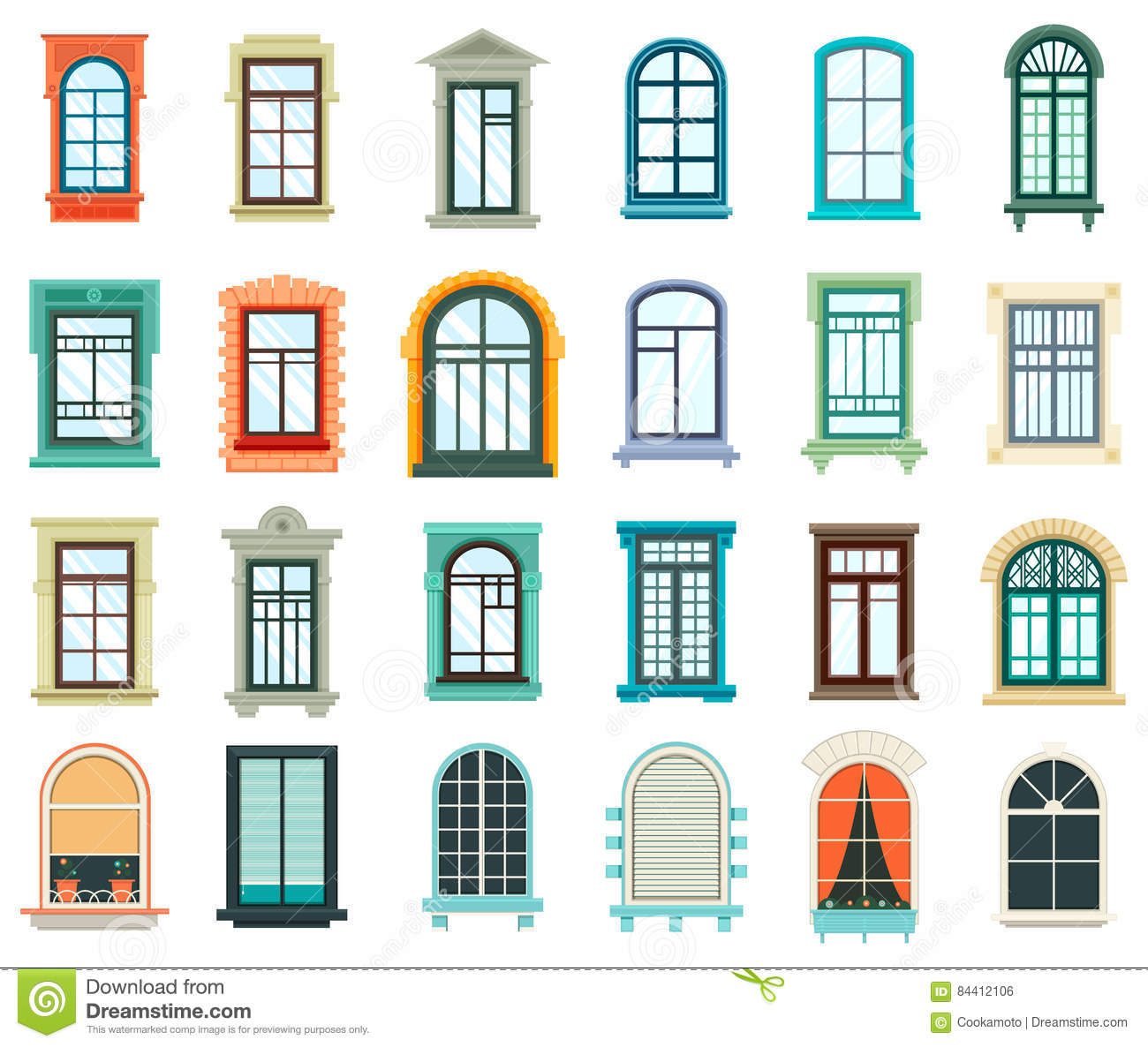 Indian House Exterior Design: Set Of Plastic And Wooden Window Frames Stock Vector