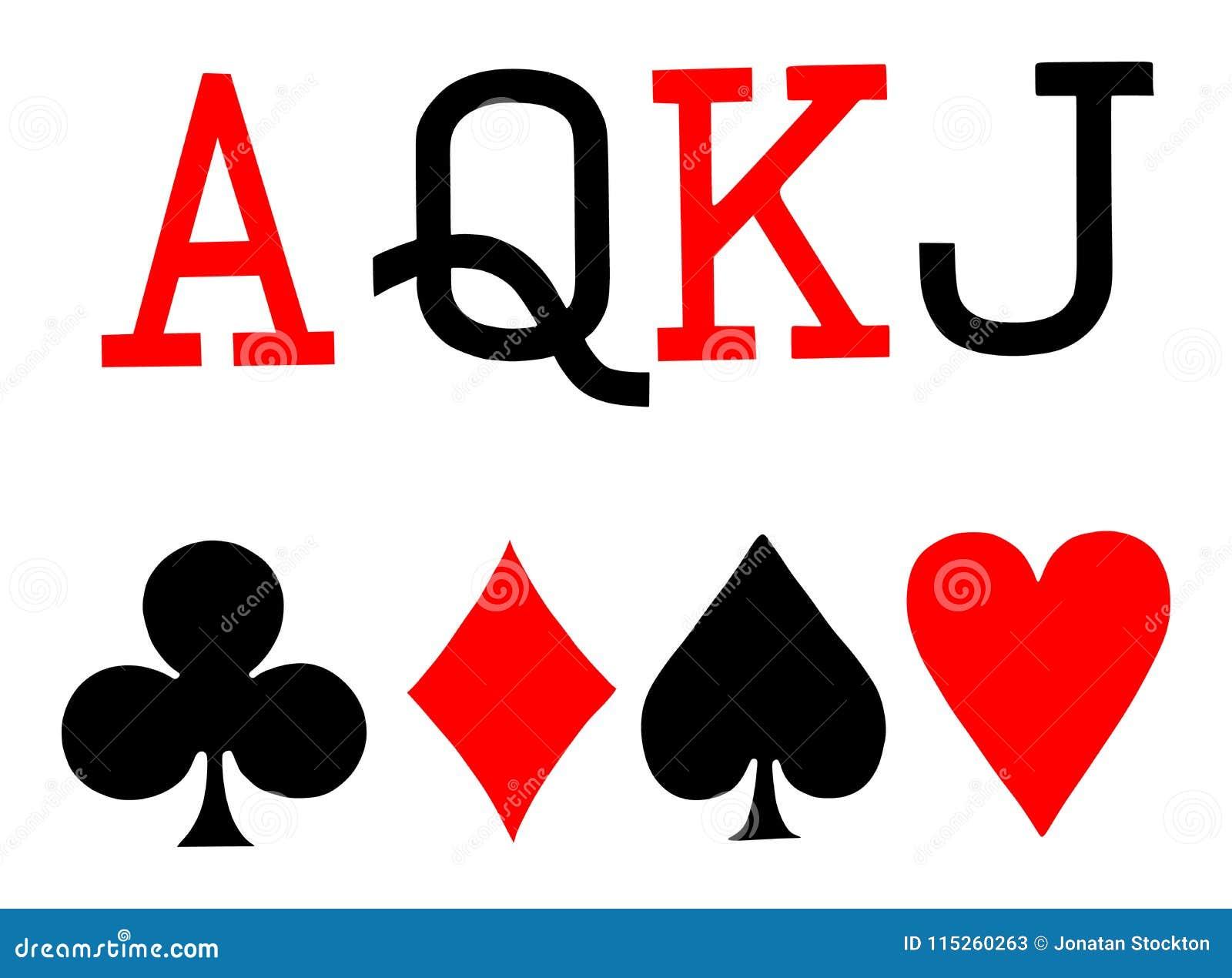 Set Of Playing Card Symbols Vector Spade Heart Club Diamond Ace