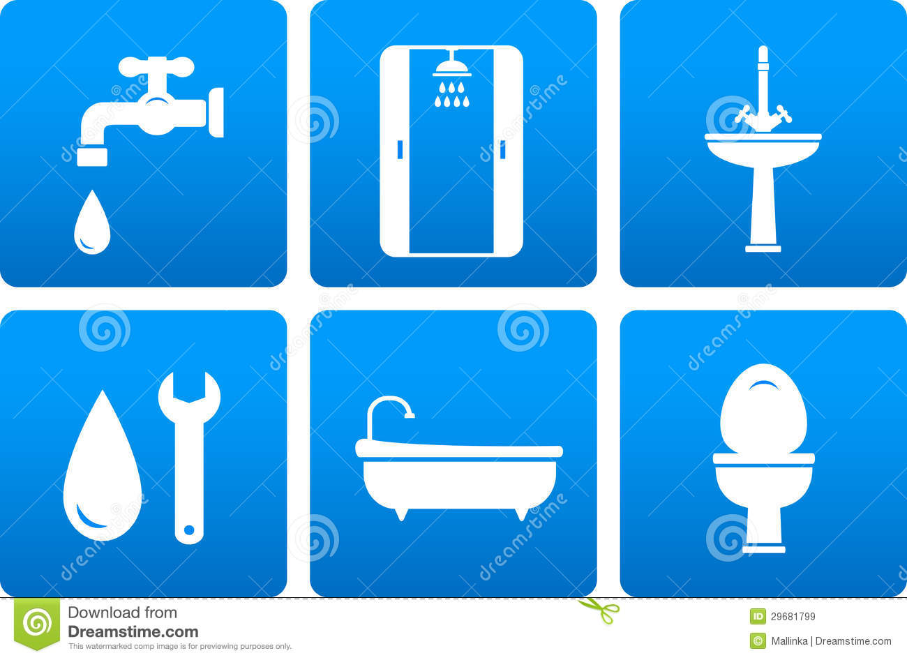 Set of plumbing icons stock illustration. Image of drop ...