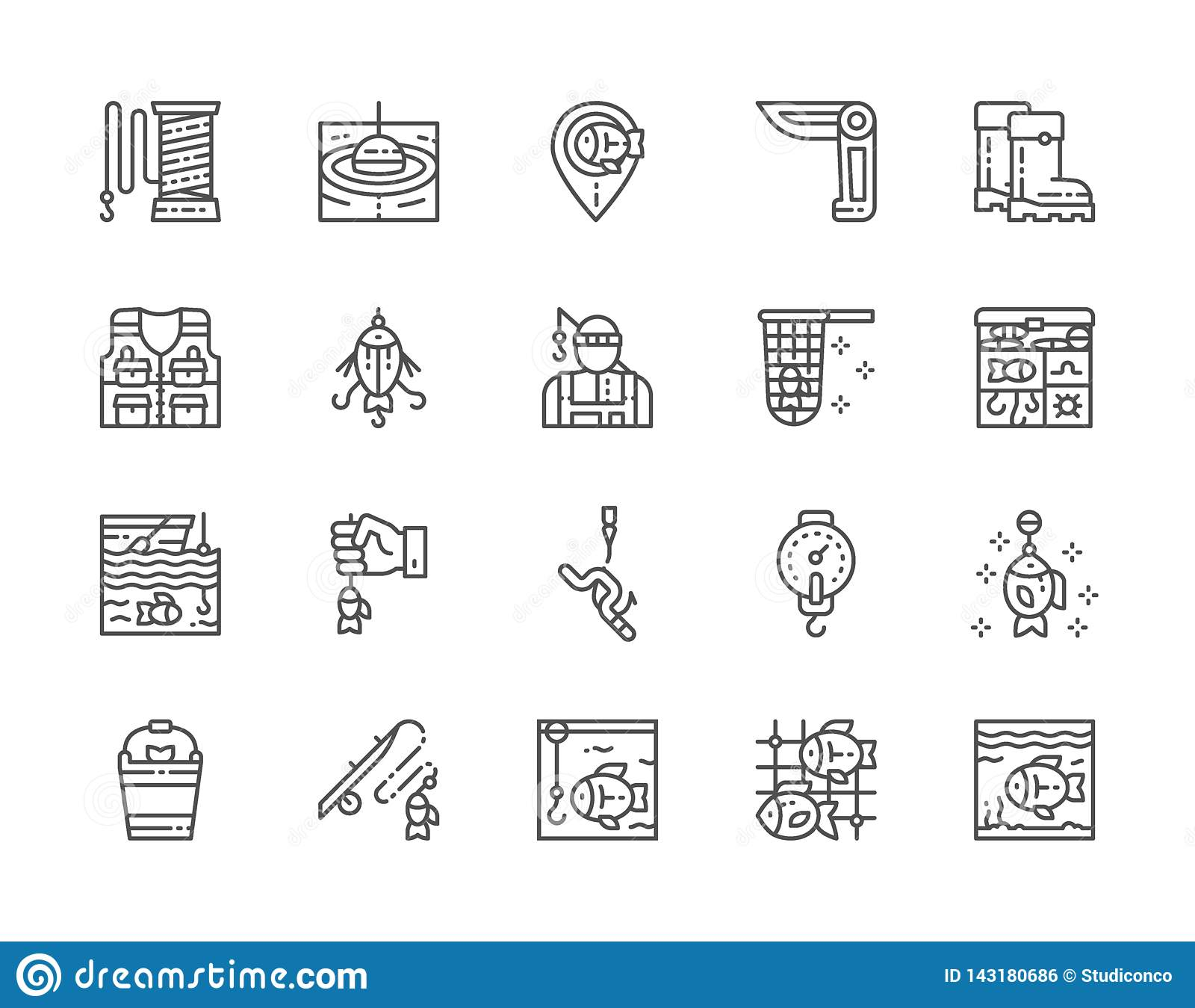 Set połów linii ikony Jackknife, rybak, sprzętu pudełko, akwarium i więcej,