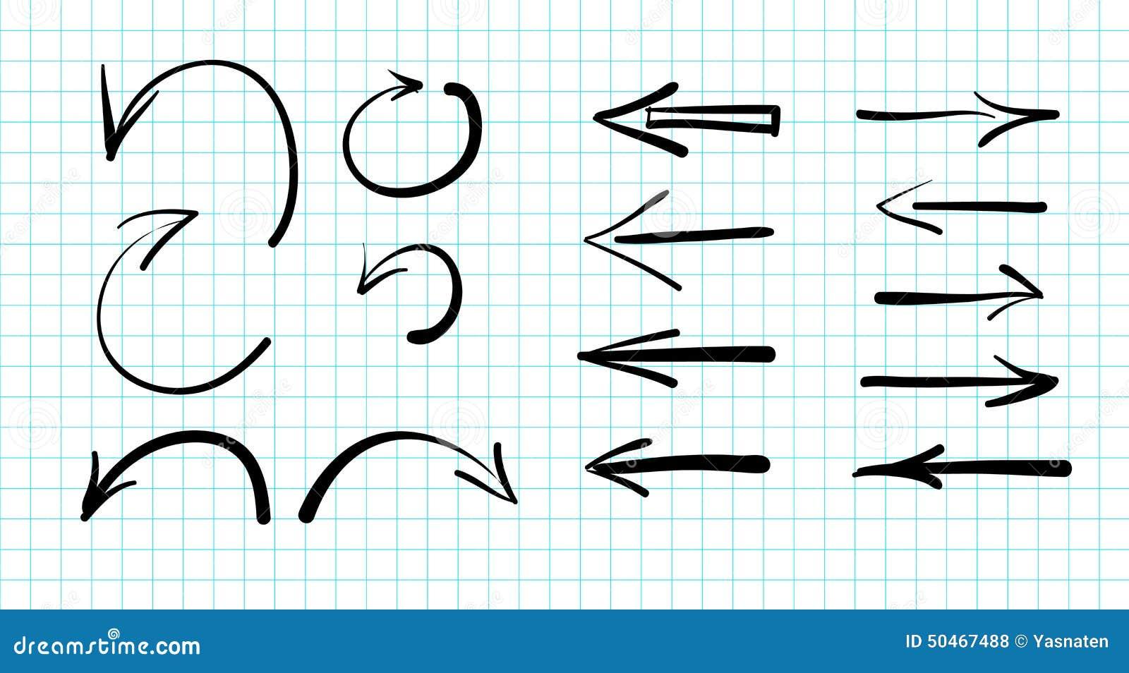 Set pociągany ręcznie wektorowi strzała doodles