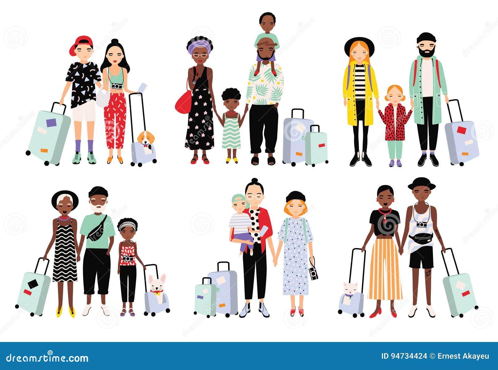 Set podróżne rodziny i pary Różni modni ludzie z bagażem, dzieci Kolorowa wektorowa kolekcja