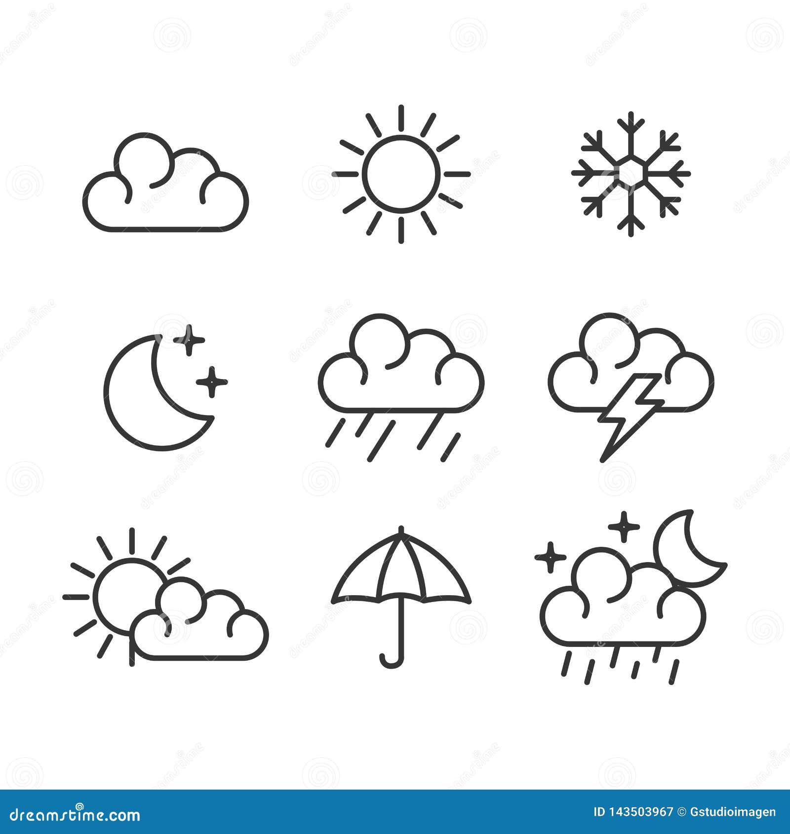 Set pogodowe status ikony