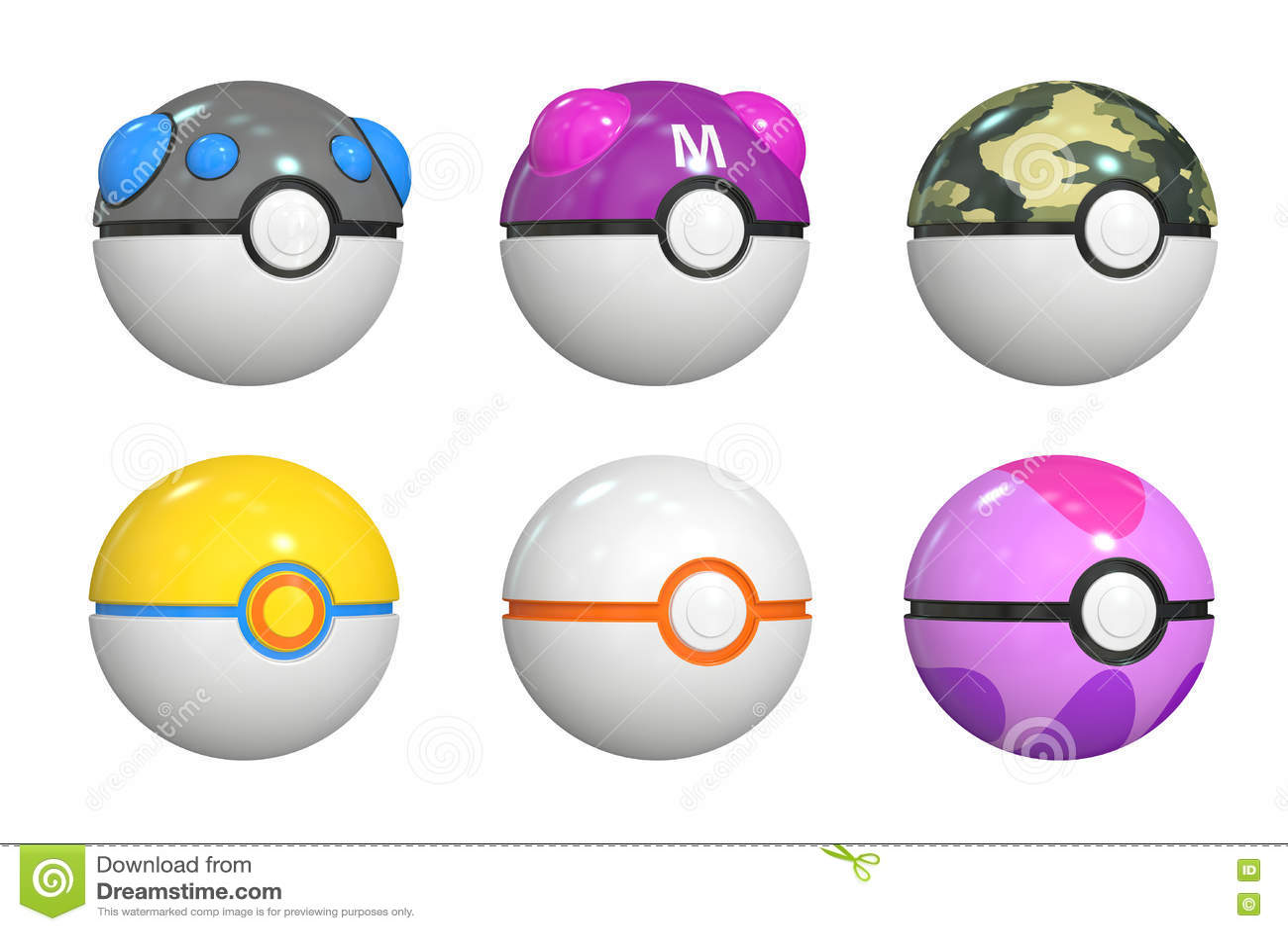 Set pokemon piłki, 3D rendering