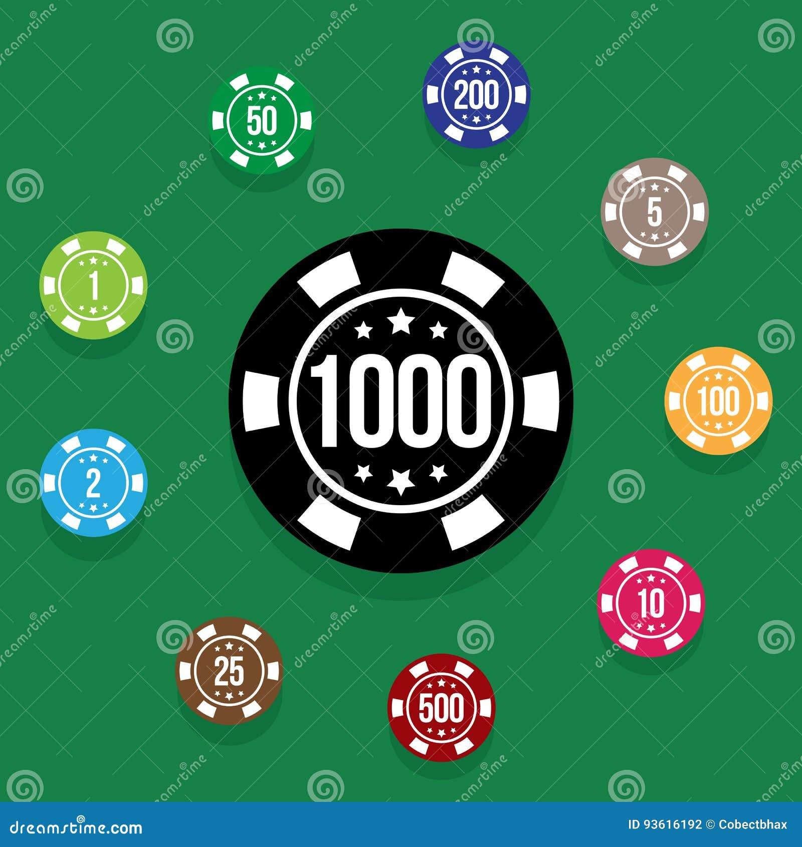 Poker table background - Set Poker Chips On Poker Table Green Color Vector Illustration Stock Vector
