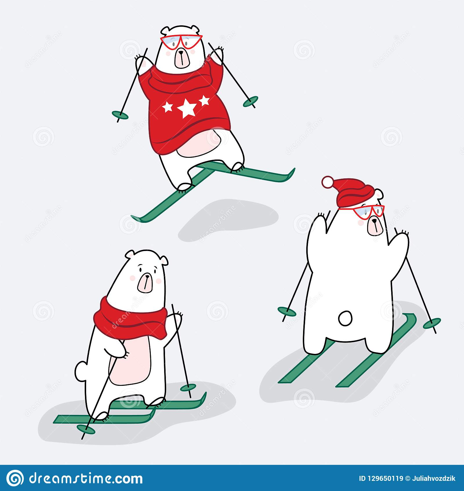 Set of polar bear characters in clothes on a skiing.