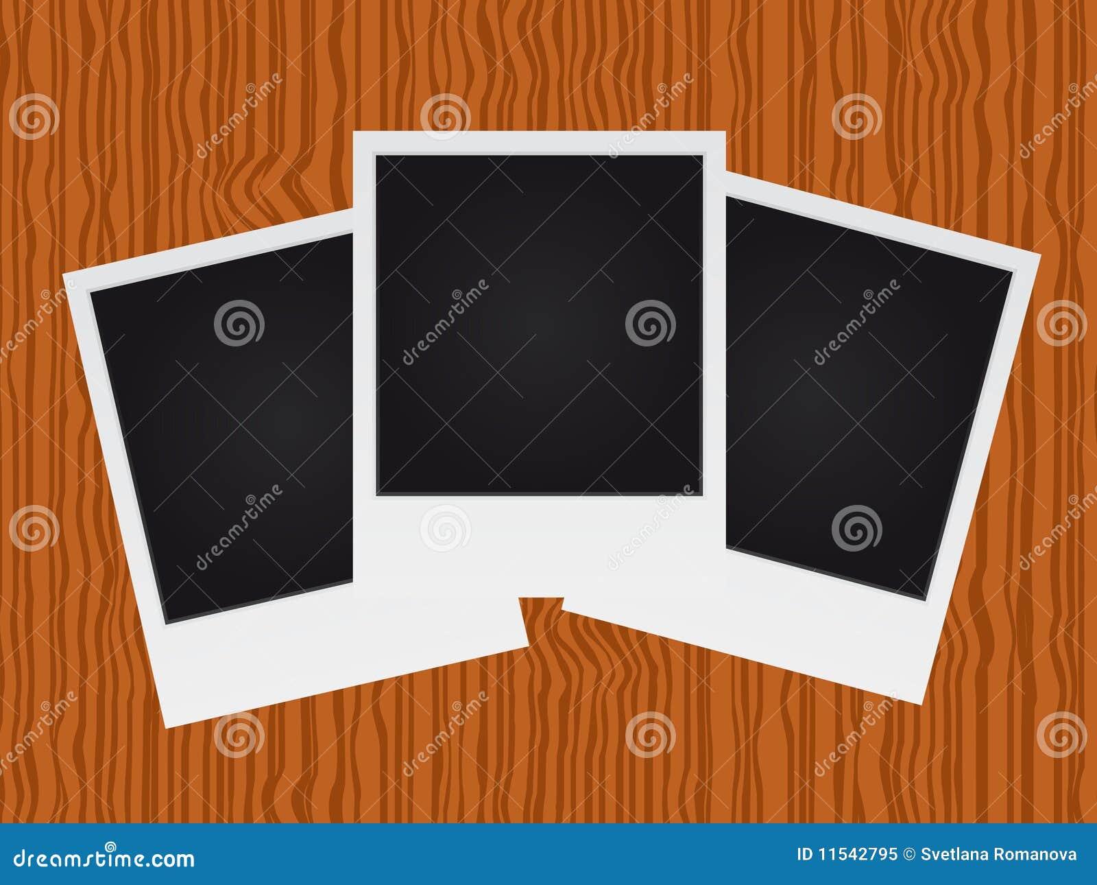 Set Of Polaroid On Wood Texture Royalty Free Stock Photo - Image: 11542795