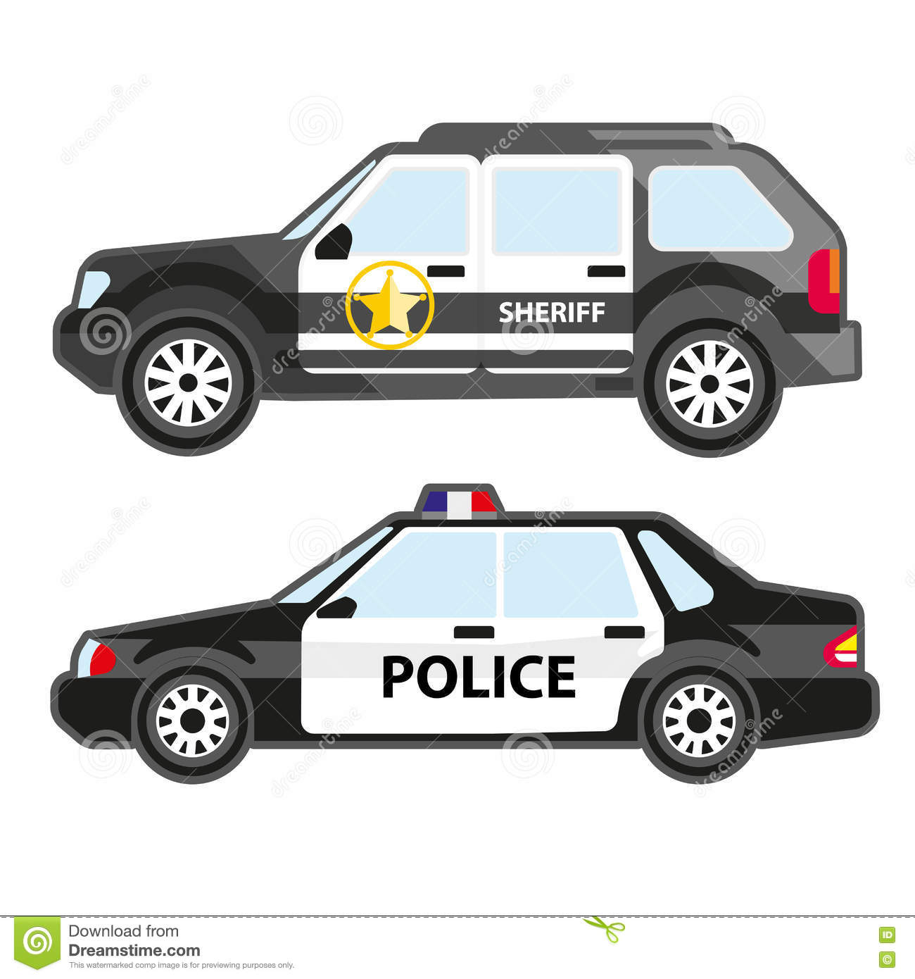 Set Of Police Automobiles. Urban Patrol Vehicle And Car Of ...