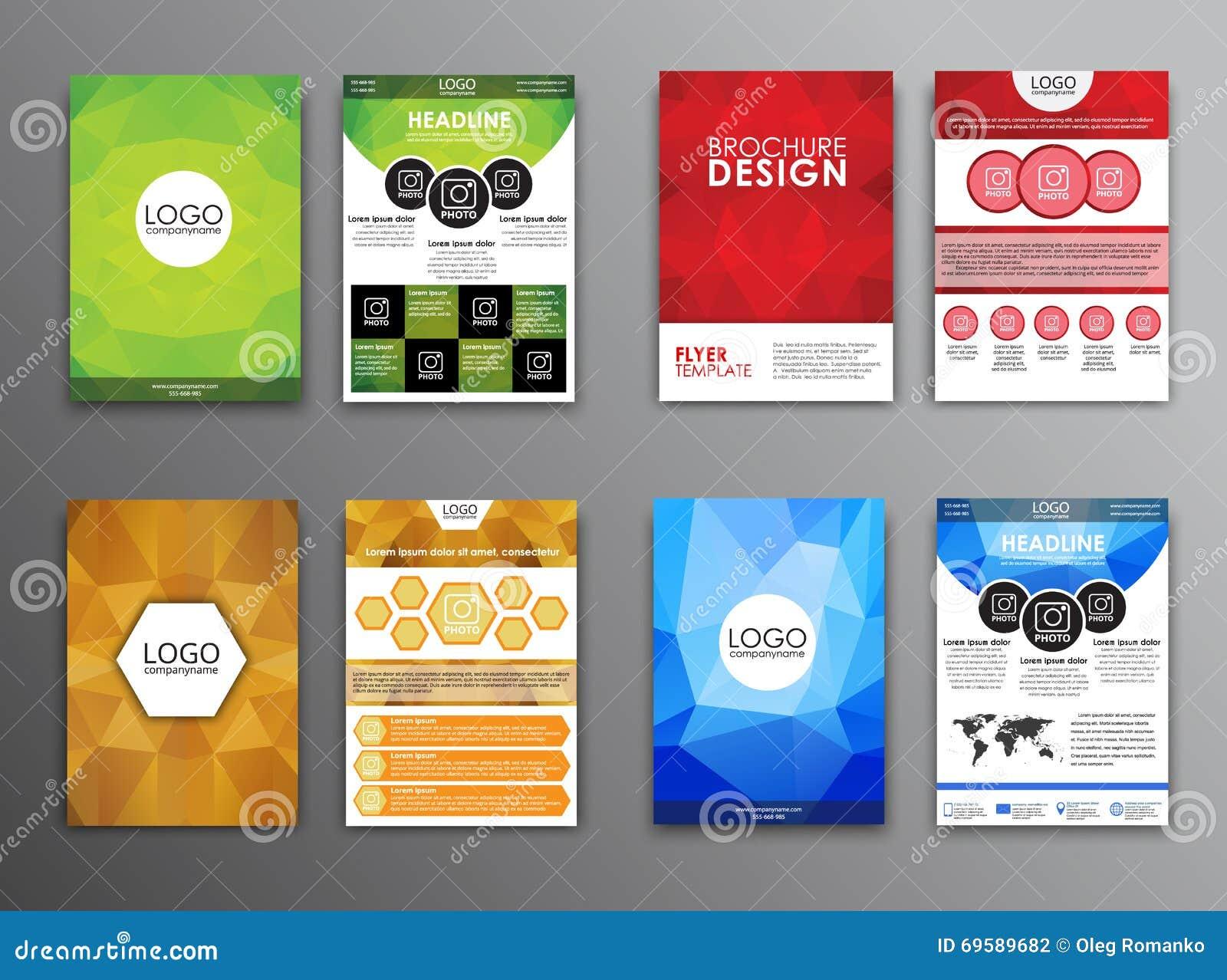 set polygonal brochures and flyers stock vector image  set polygonal brochures and flyers