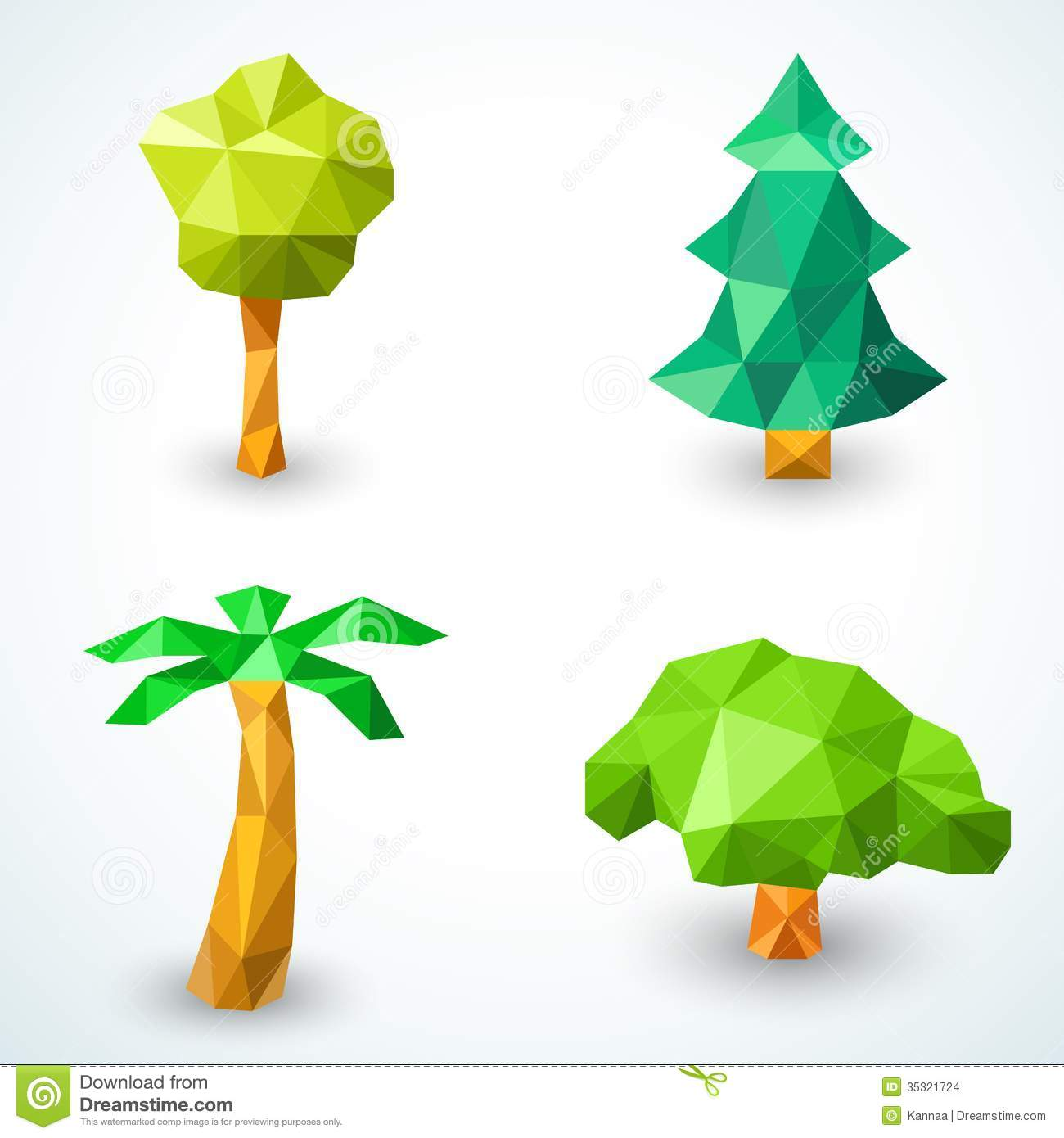 Set Of Polygonal Origami Tree Icons Vector Stock Images