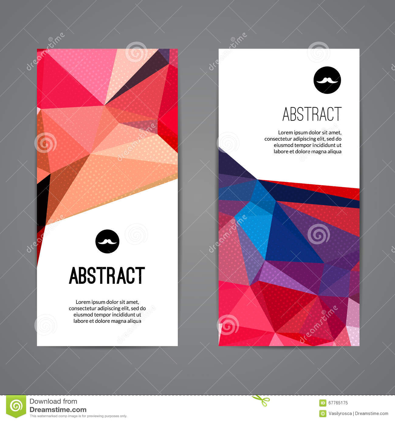 set of polygonal triangular colorful background banners poster booklet with swirls for modern. Black Bedroom Furniture Sets. Home Design Ideas