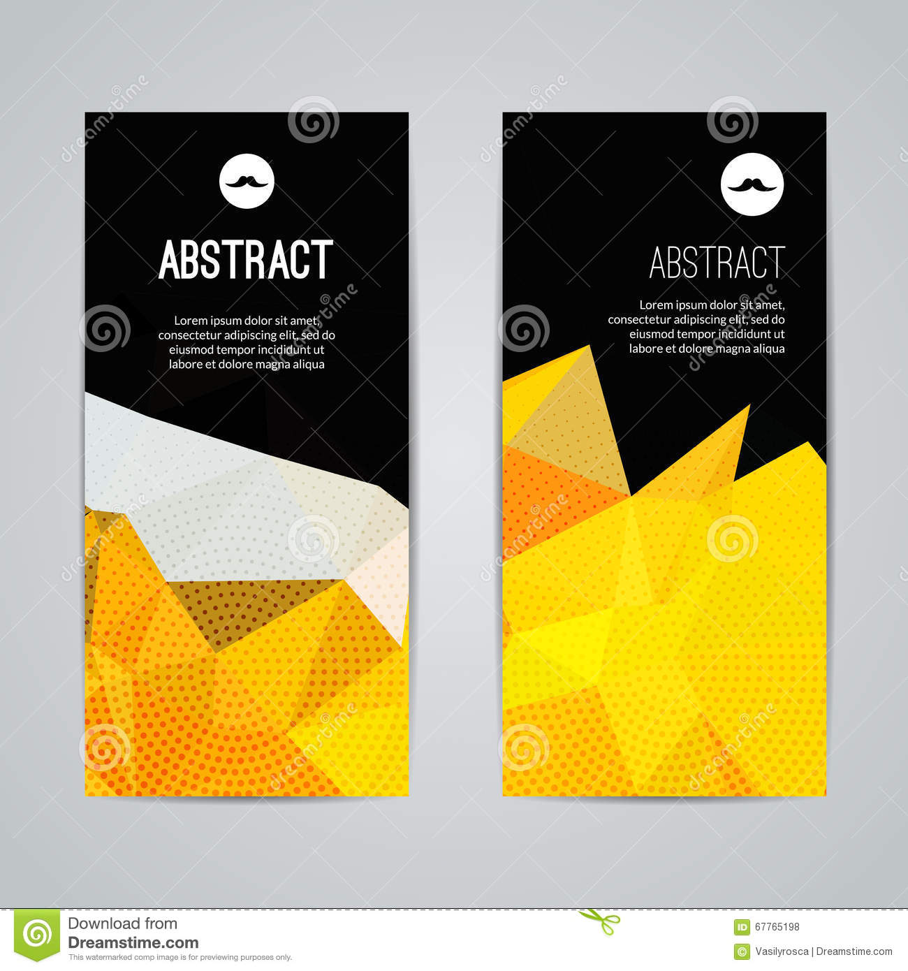 Poster design for youth - Set Of Polygonal Triangular Colorful Background Banners Poster Booklet With Swirls For Modern Design Youth
