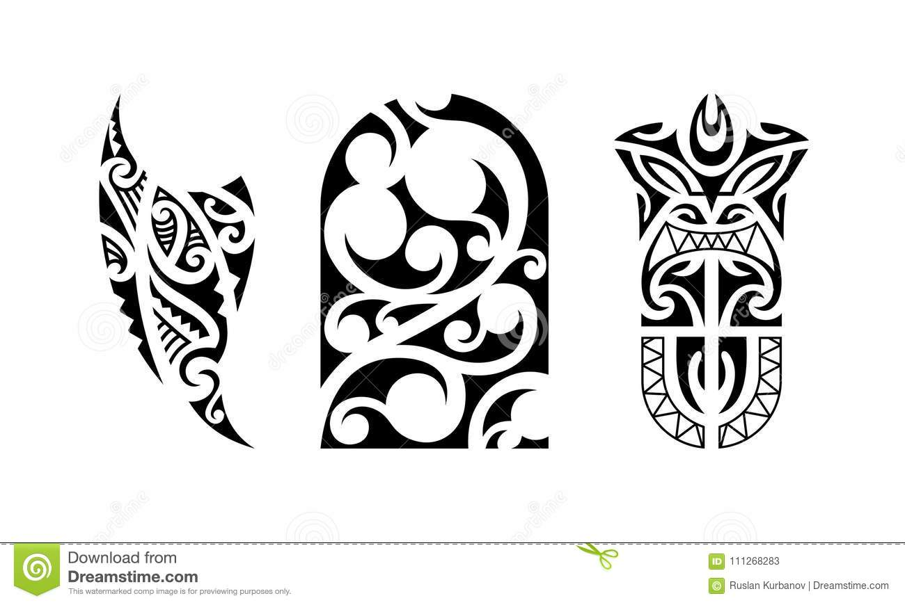 e3db45394 Set of polynesian tattoo stock vector. Illustration of aloha - 111268283