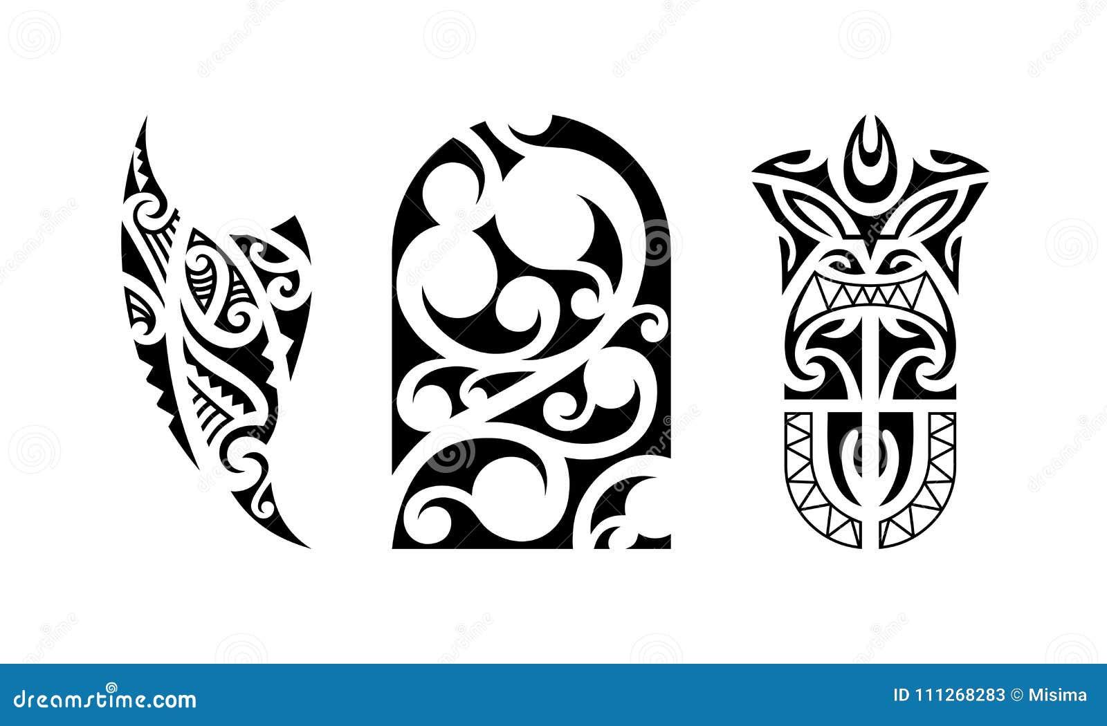 6b4e2a4816e34 Set of polynesian tattoo. Traditional maori tribal ornaments. Vector  pattern illustration.