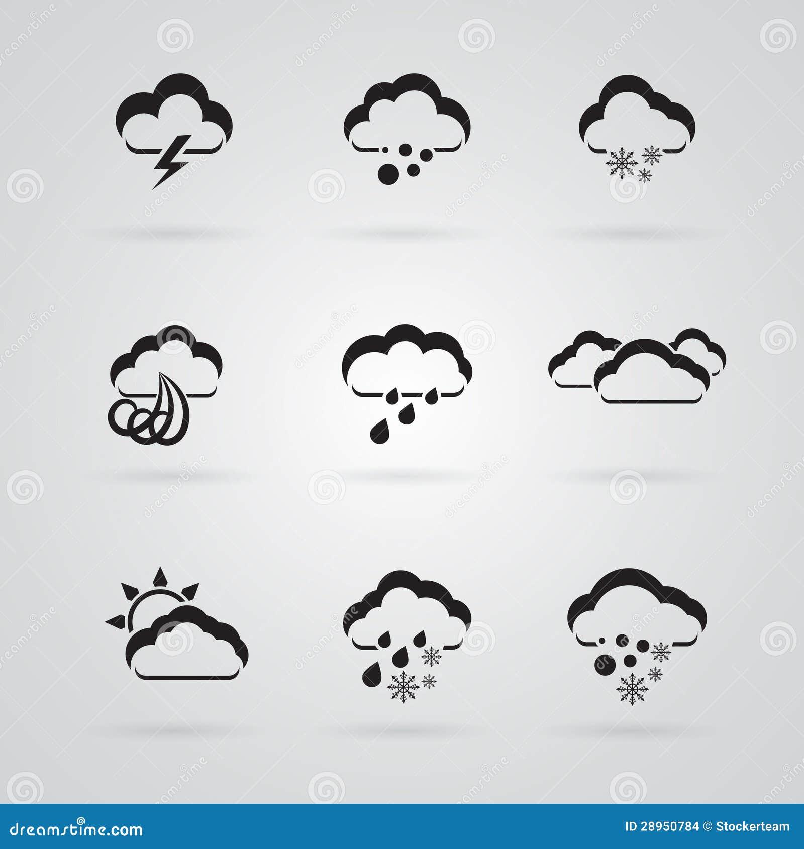 Set popielate pogodowe ikony