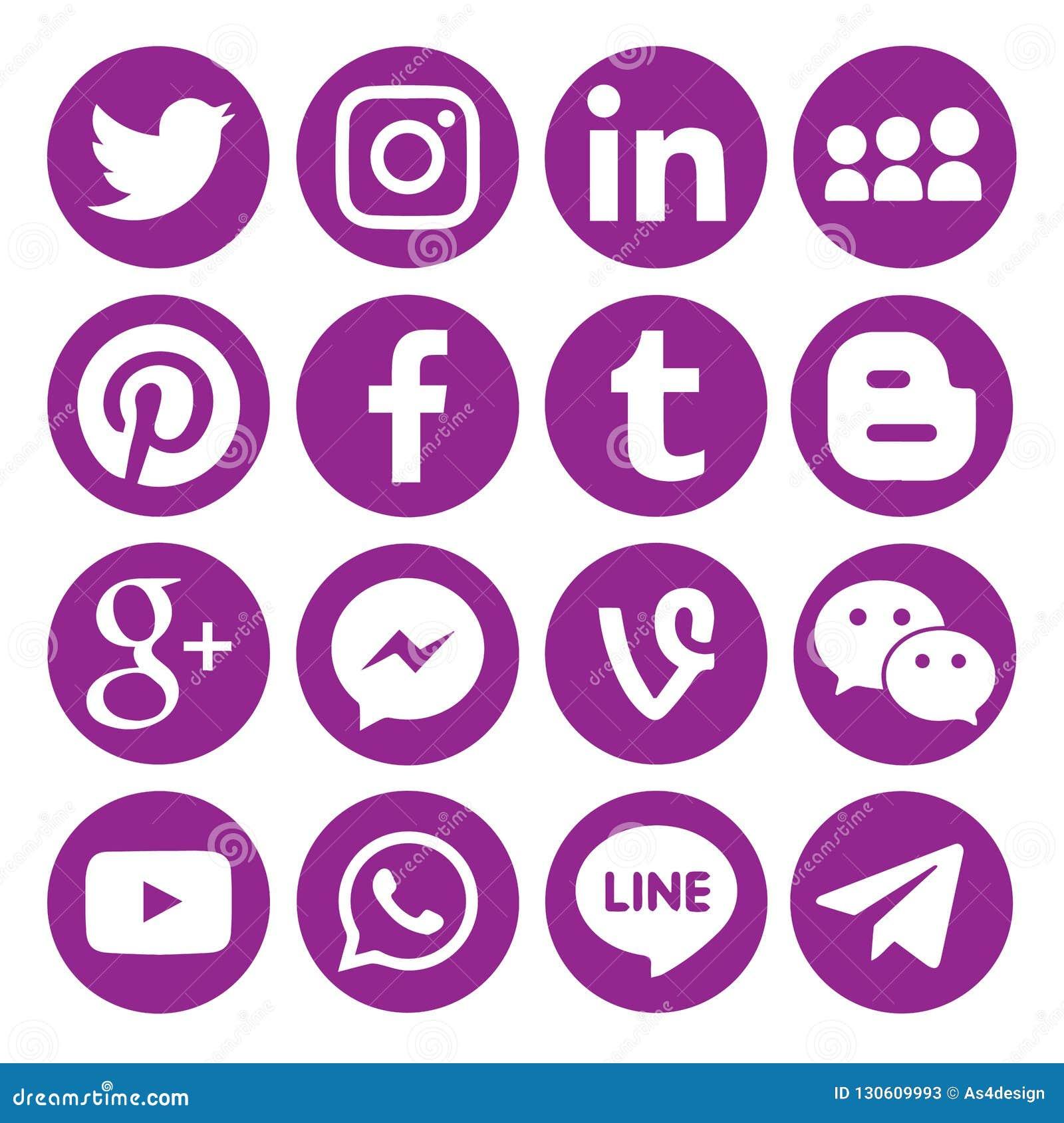 2dda3f092042 Set of popular black Circular social media icons or symbols printed on  paper: , Twitter, Blogger ,Facebook, Instagram, Pinterest,Google Plus, ...