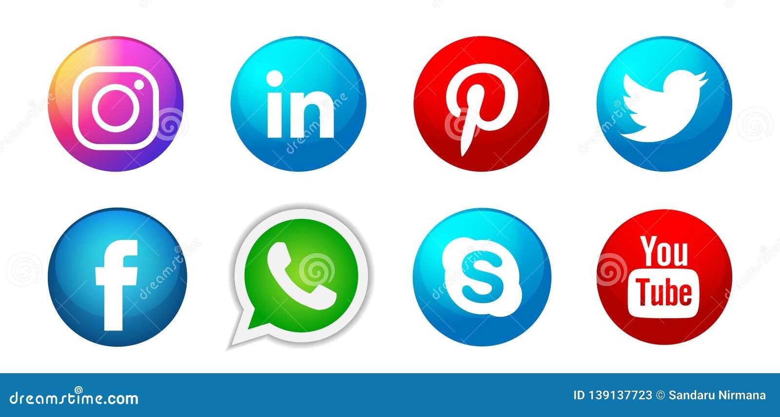 Set of popular social media logos icons Instagram Facebook Twitter Youtube WhatsApp element vector on white background
