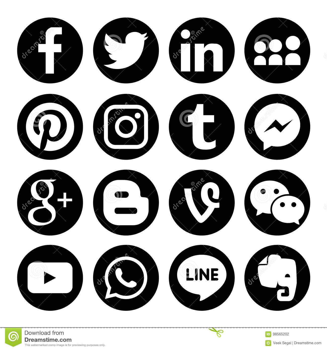 Instagram Pinterest Icons: Set Of Popular Social Media Logos Vector Web Icon