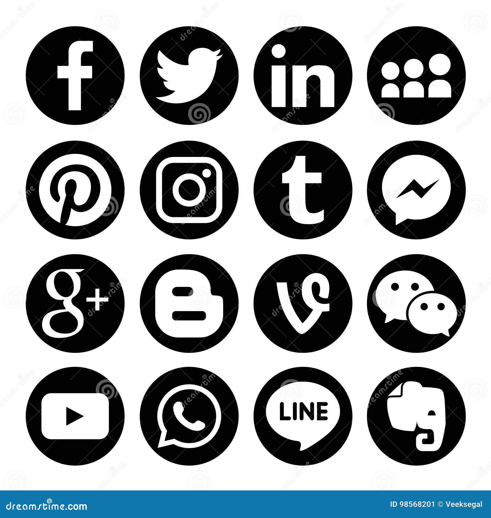 5ec6aebe14b9 Set of popular social media logos vector web icon Facebook, Twitter,  Instagram, Pinterest, Tumblr, LinkedIn, Google Plus, Blogger