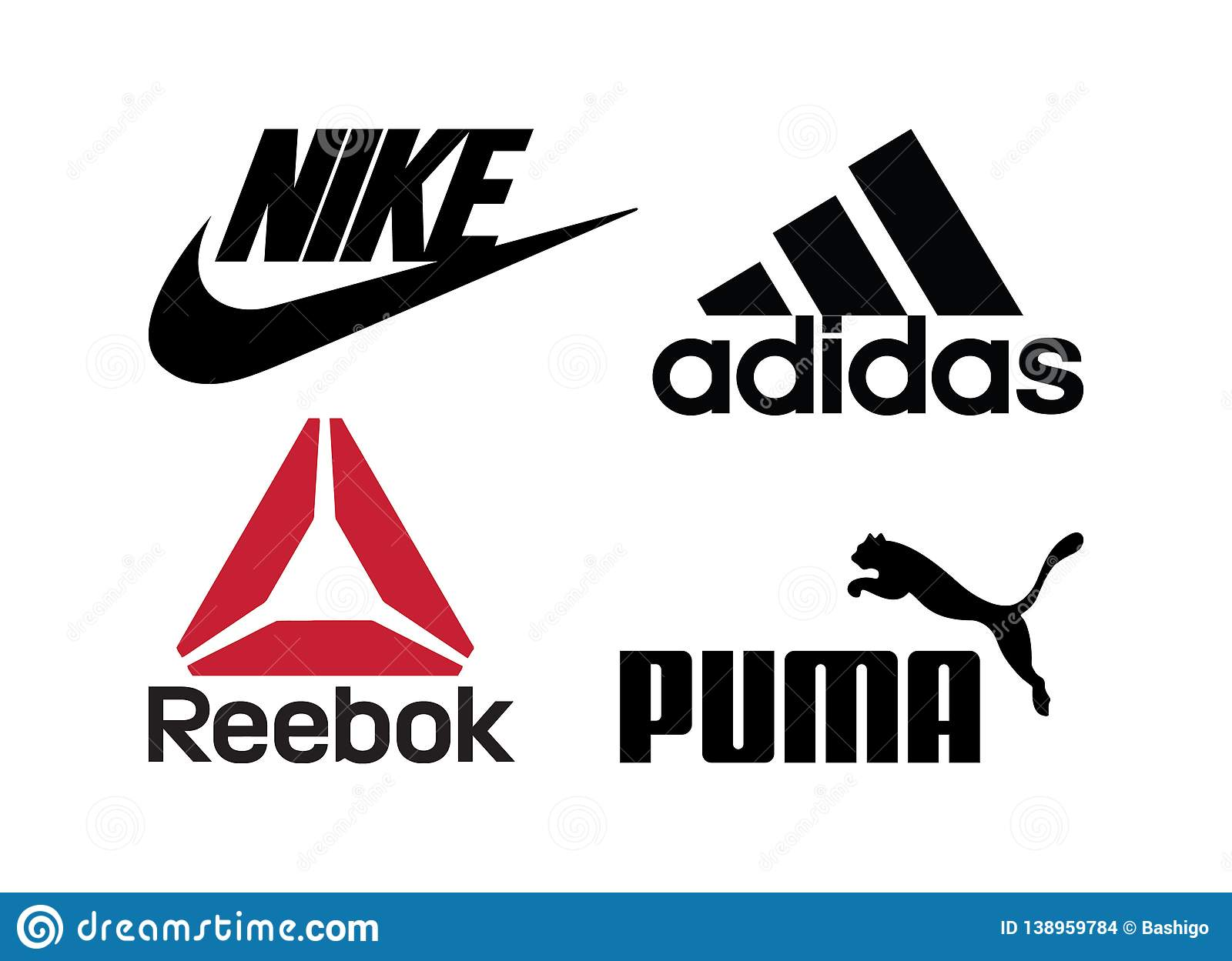 parrilla capacidad empeorar  Set Of Popular Sportswear Manufactures Logos Printed On Paper: Adidas,Nike,Reebok,Puma  Editorial Stock Image - Illustration of editorial, nike: 138959784