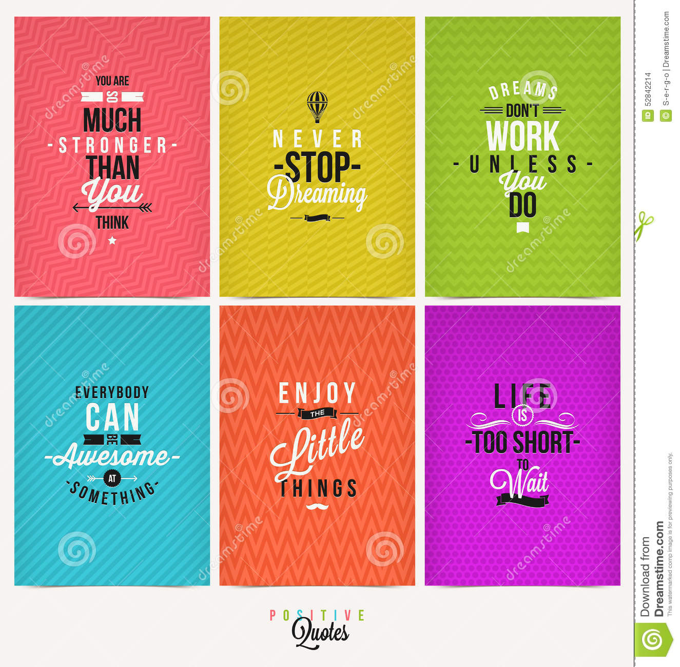 Set Of Positive Quotes Stock Vector Image Of Note Flyer 52842214