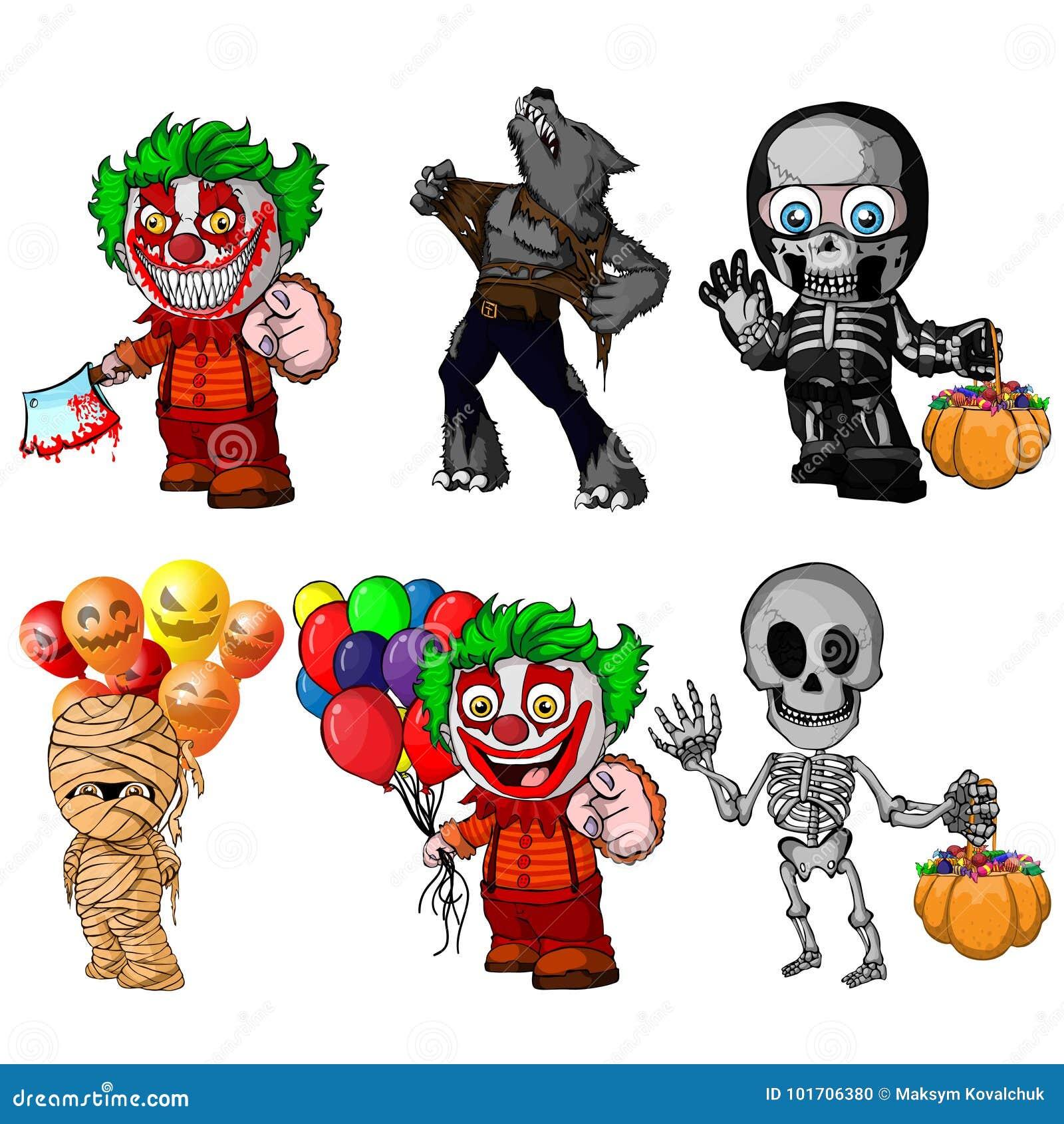 Set postać z kreskówki dla Halloween