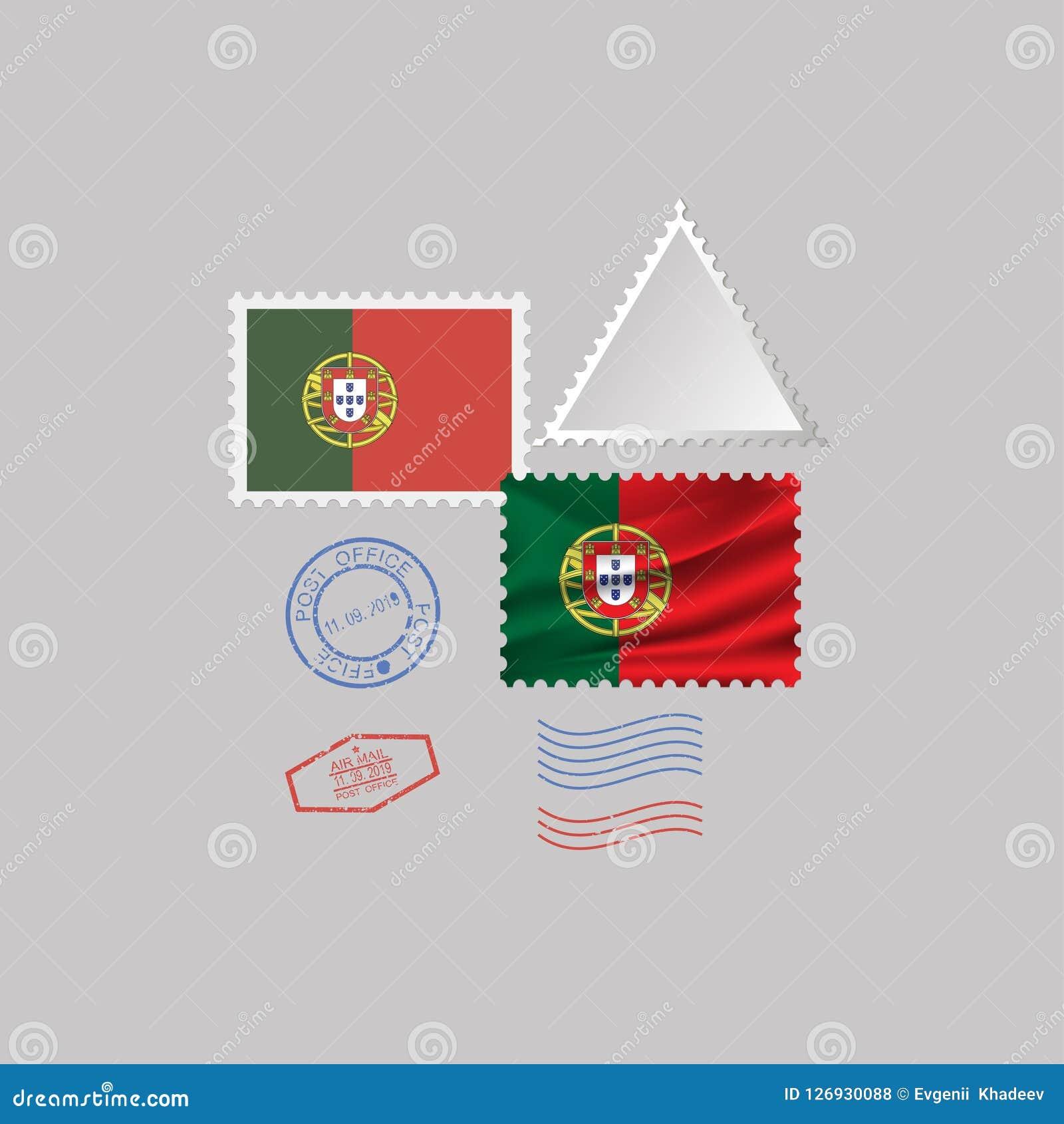 Portugal flag postage stamp set, isolated on gray background, vector illustration. 10 eps. A set of postage stamps with the image of the flag of Portugal Stock Illustration