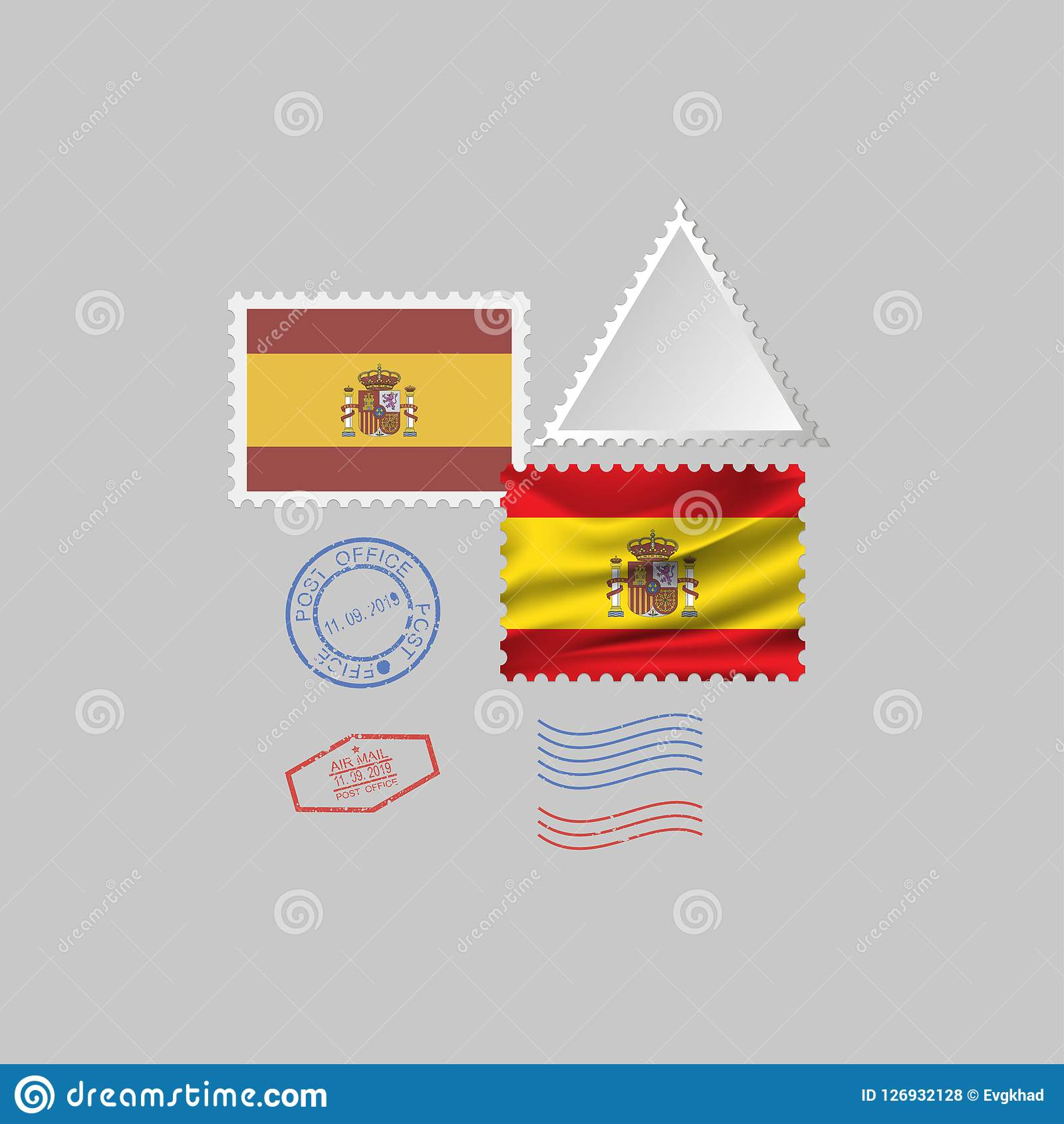 SPAIN flag postage stamp set, isolated on gray background, vector illustration. 10 eps. A set of postage stamps with the image of the flag of SPAIN isolated on a Stock Illustration