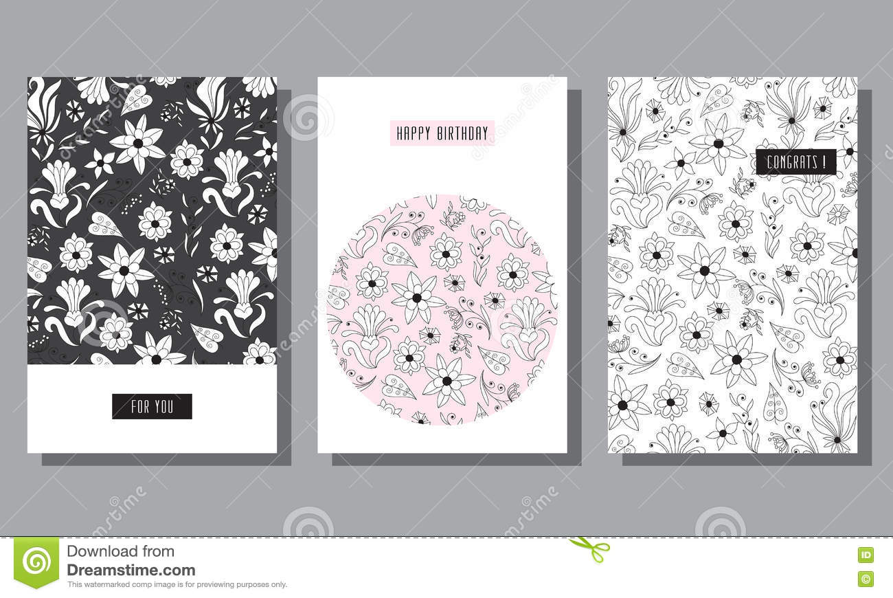 Set Of Postcards With Abstract Flowers Stock Vector Illustration