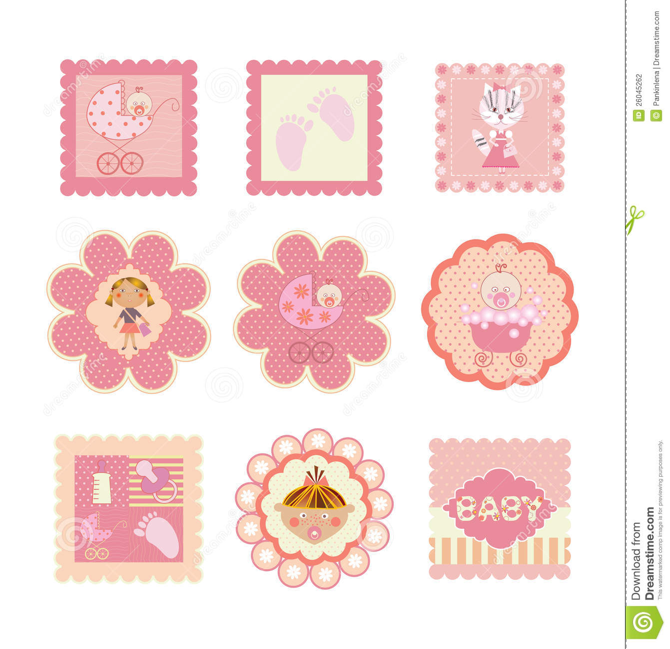 Set Of Postcards Stickers For Girls Stock Photography