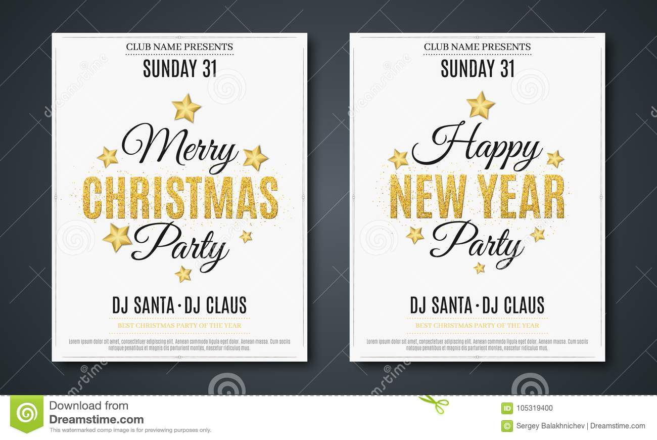 set posters for christmas and new year party invitation card the text is made