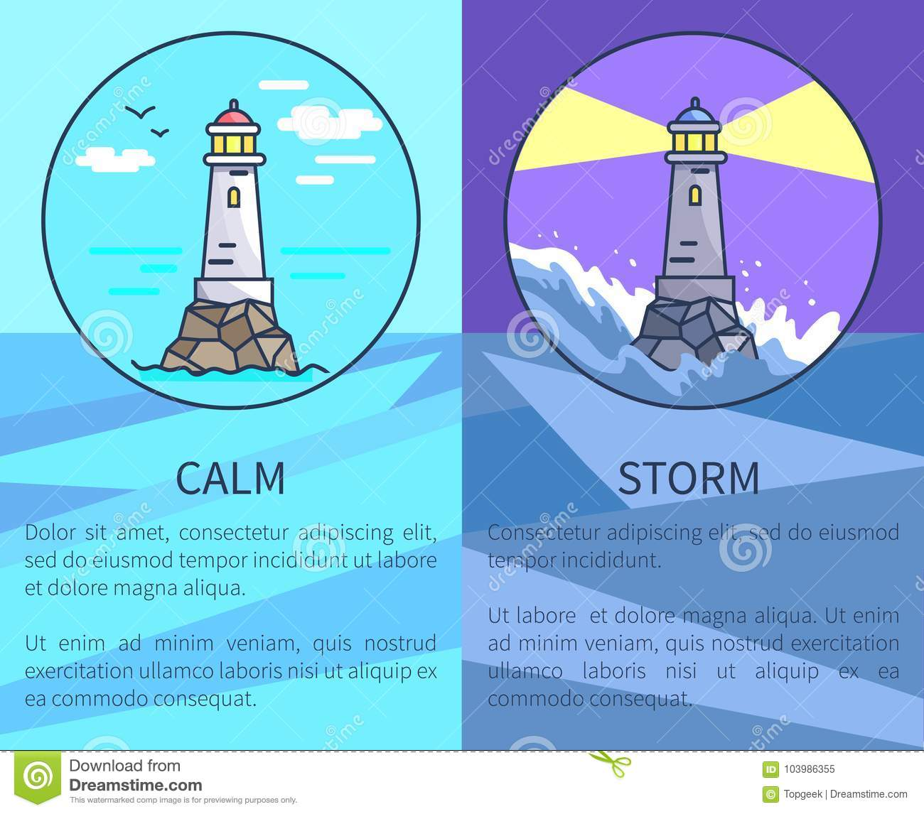 Set of Posters Depicting Lighthouses with Text