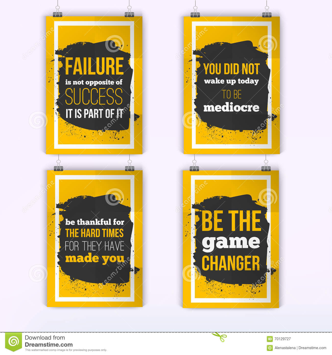 Quote poster design inspiration - Set Of Posters About Motivation Inspiration Vector Typography Quote Banner Design Concept Poster Mock