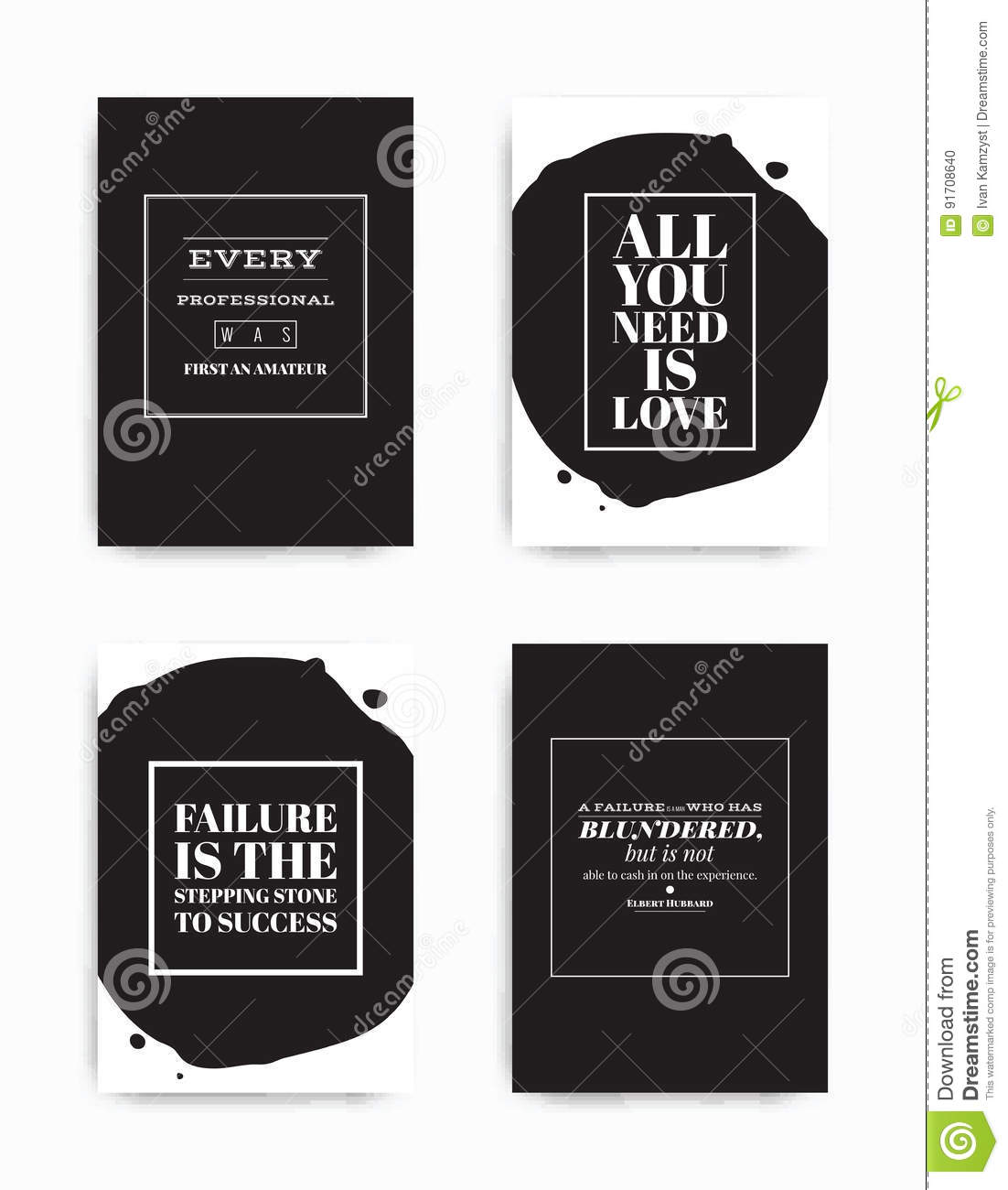 Set Posters Quote Stock Vector Illustration Of Fashion 91708640