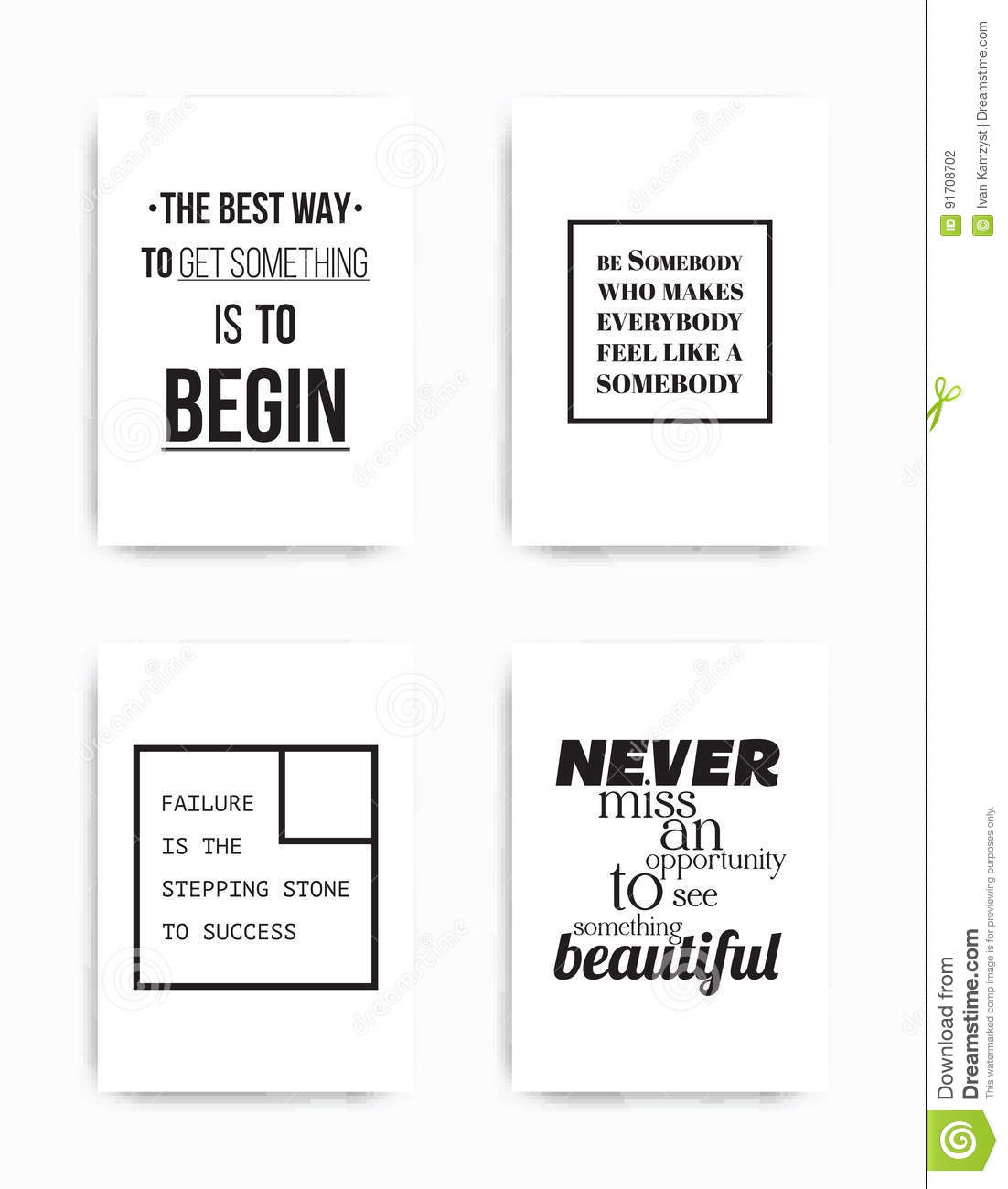 Set Posters Quote Stock Vector Illustration Of Expression 91708702