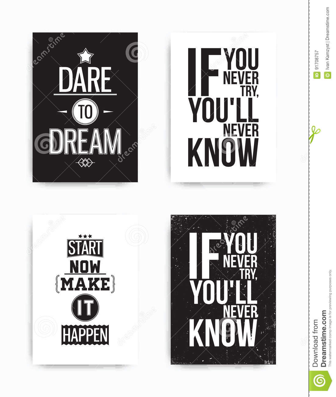 Set Posters Quote Stock Vector Illustration Of Background 91708757